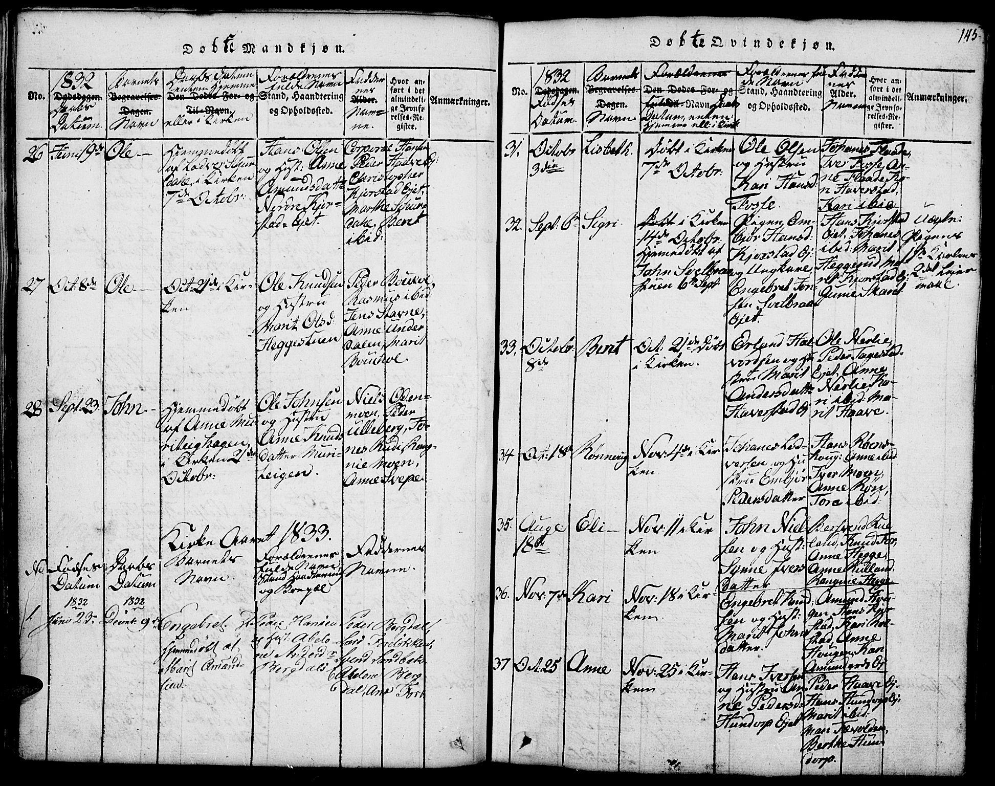 SAH, Fron prestekontor, H/Ha/Hab/L0001: Klokkerbok nr. 1, 1816-1843, s. 145
