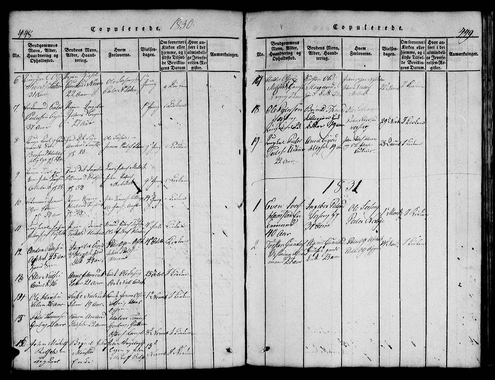 SAT, Ministerialprotokoller, klokkerbøker og fødselsregistre - Sør-Trøndelag, 695/L1152: Klokkerbok nr. 695C03, 1816-1831, s. 448-449