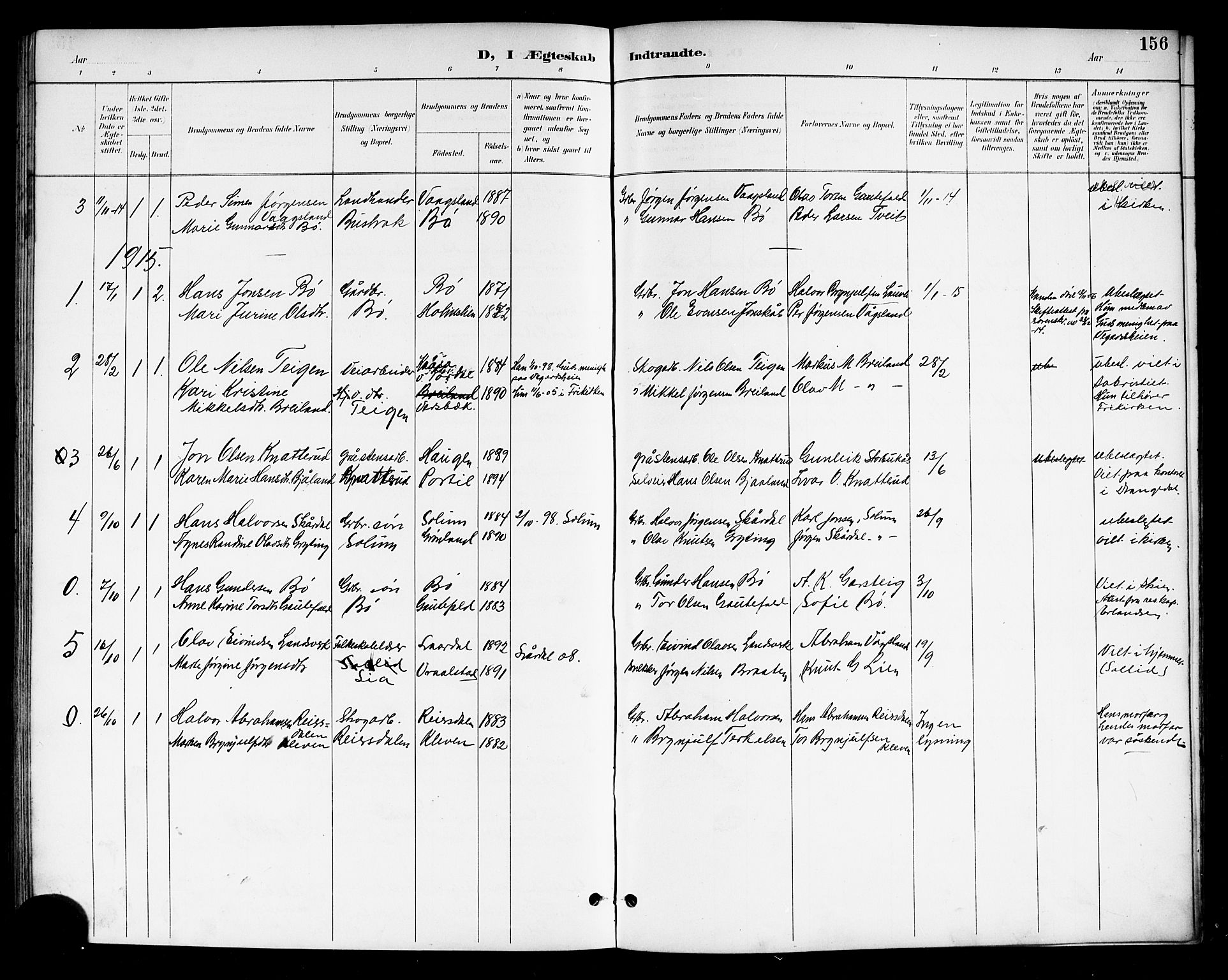 SAKO, Drangedal kirkebøker, G/Gb/L0002: Klokkerbok nr. II 2, 1895-1918, s. 156