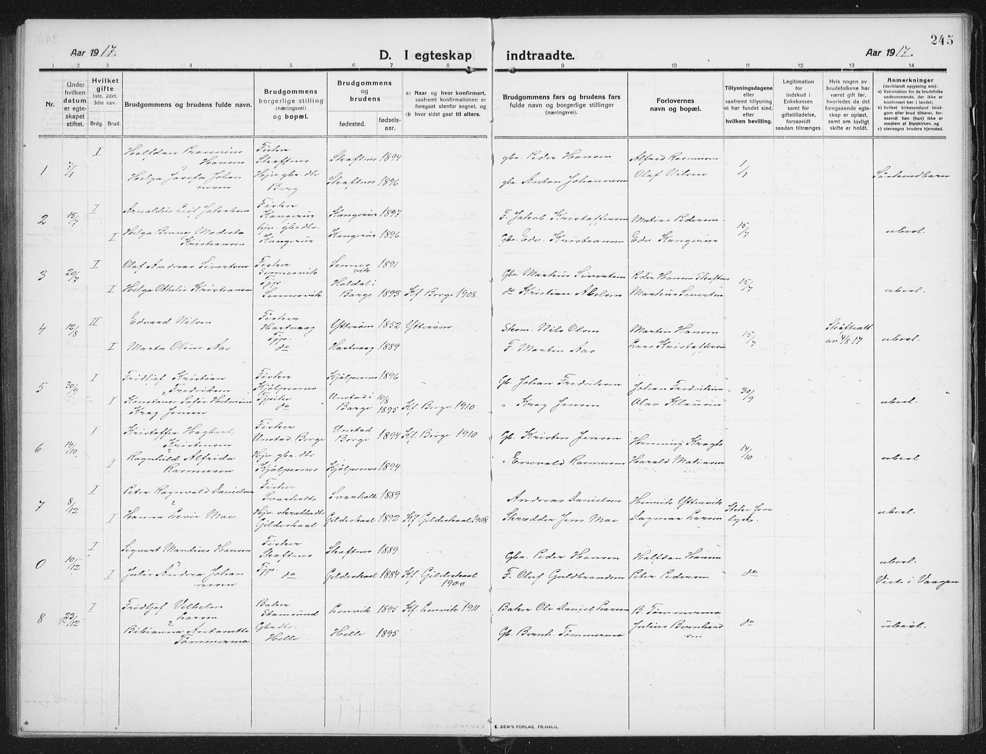 SAT, Ministerialprotokoller, klokkerbøker og fødselsregistre - Nordland, 882/L1183: Klokkerbok nr. 882C01, 1911-1938, s. 245