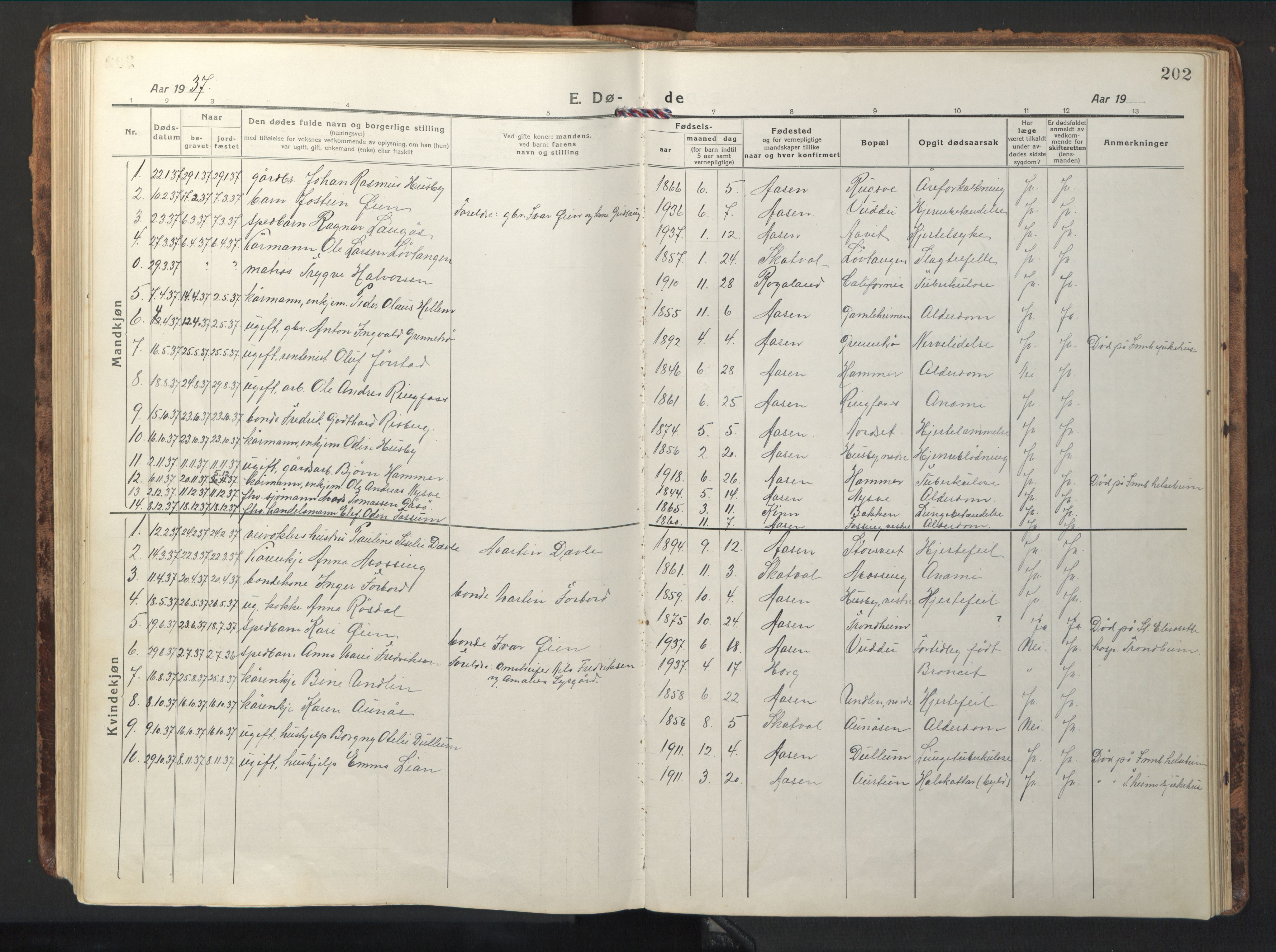 SAT, Ministerialprotokoller, klokkerbøker og fødselsregistre - Nord-Trøndelag, 714/L0136: Klokkerbok nr. 714C05, 1918-1957, s. 202