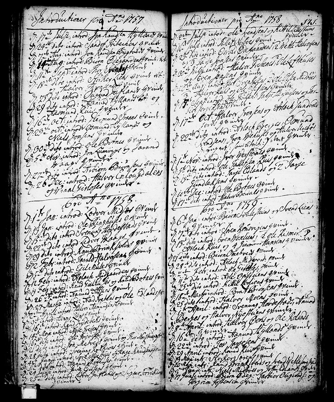 SAKO, Vinje kirkebøker, F/Fa/L0001: Ministerialbok nr. I 1, 1717-1766, s. 171