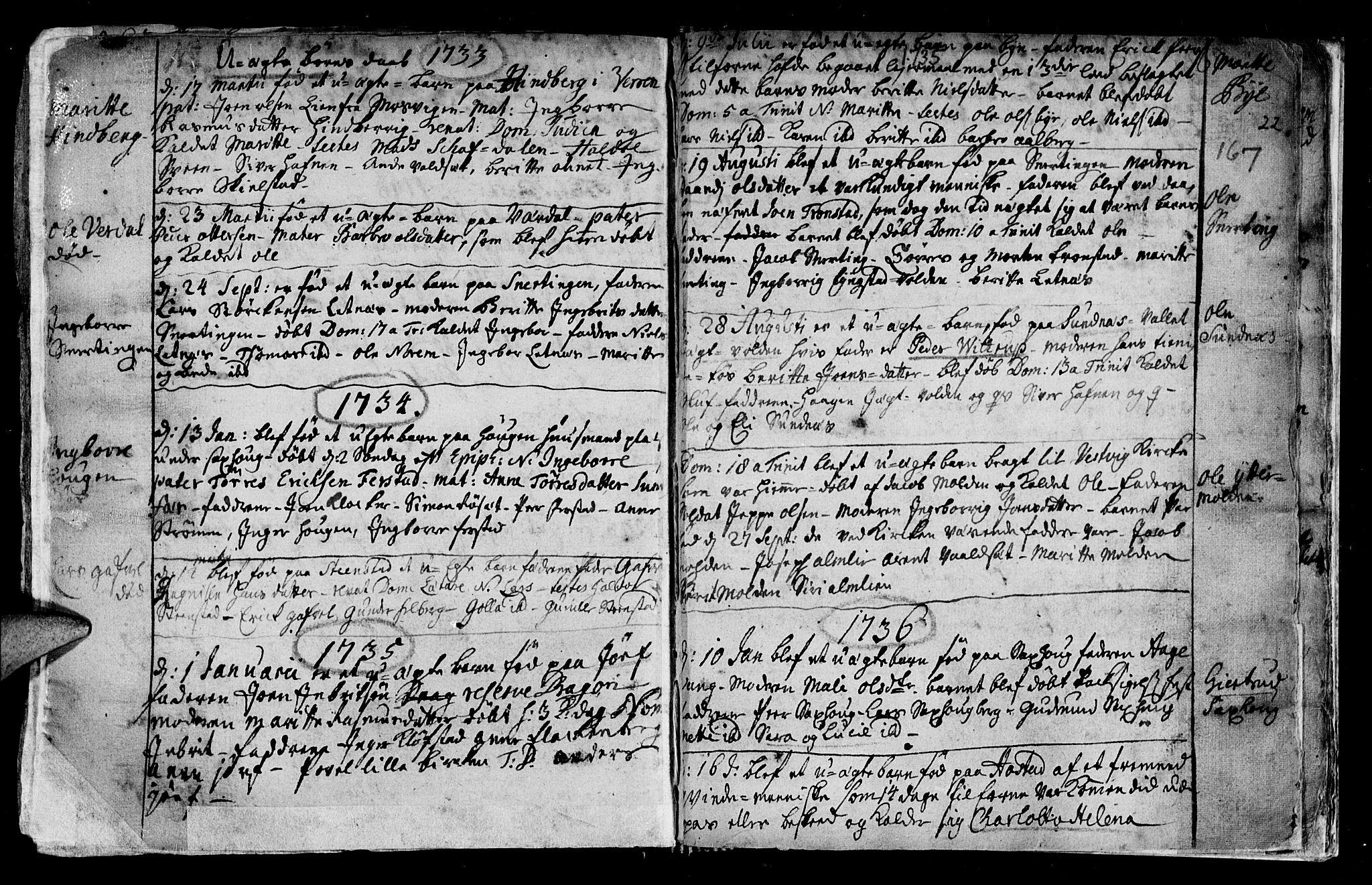SAT, Ministerialprotokoller, klokkerbøker og fødselsregistre - Nord-Trøndelag, 730/L0272: Ministerialbok nr. 730A01, 1733-1764, s. 167