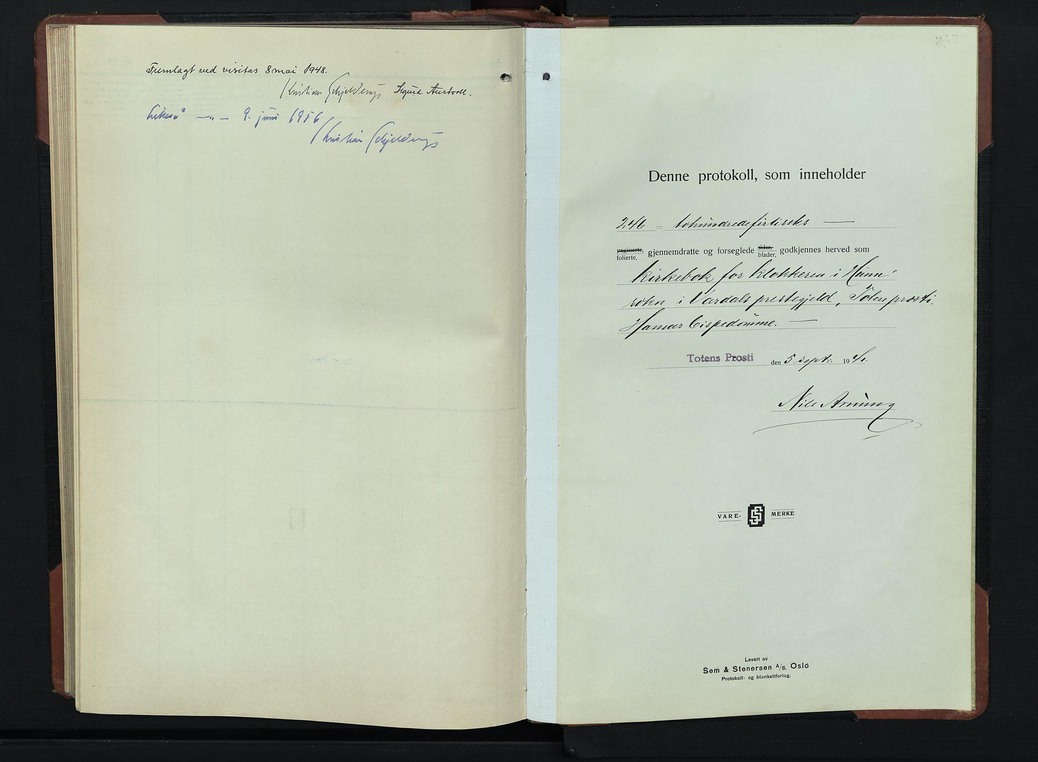 SAH, Vardal prestekontor, H/Ha/Hab/L0019: Klokkerbok nr. 19, 1941-1951