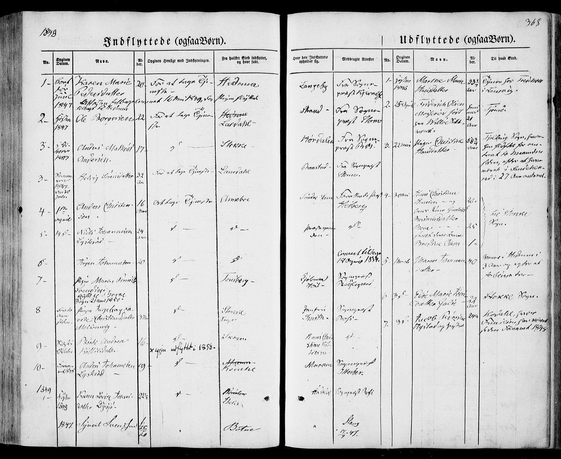 SAKO, Sandar kirkebøker, F/Fa/L0006: Ministerialbok nr. 6, 1847-1860, s. 368