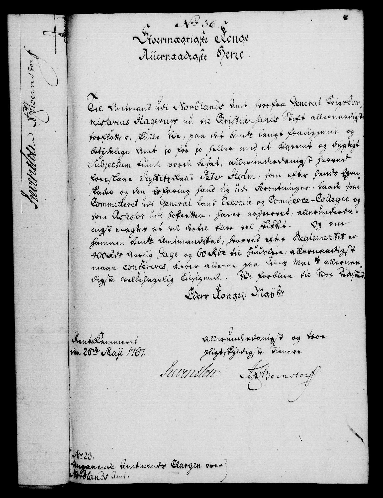 RA, Rentekammeret, Kammerkanselliet, G/Gf/Gfa/L0049: Norsk relasjons- og resolusjonsprotokoll (merket RK 52.49), 1767, s. 155