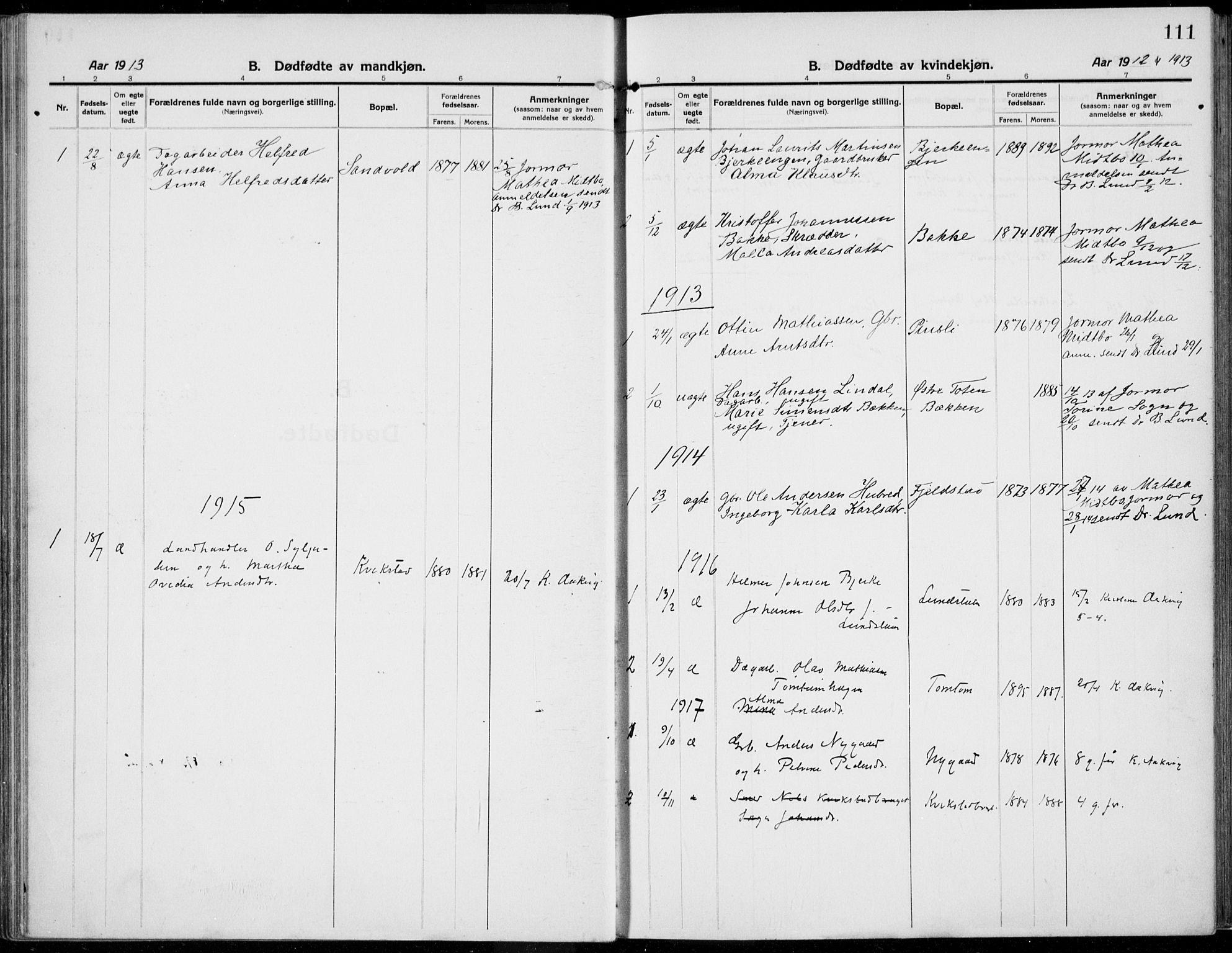 SAH, Kolbu prestekontor, Ministerialbok nr. 2, 1912-1926, s. 111