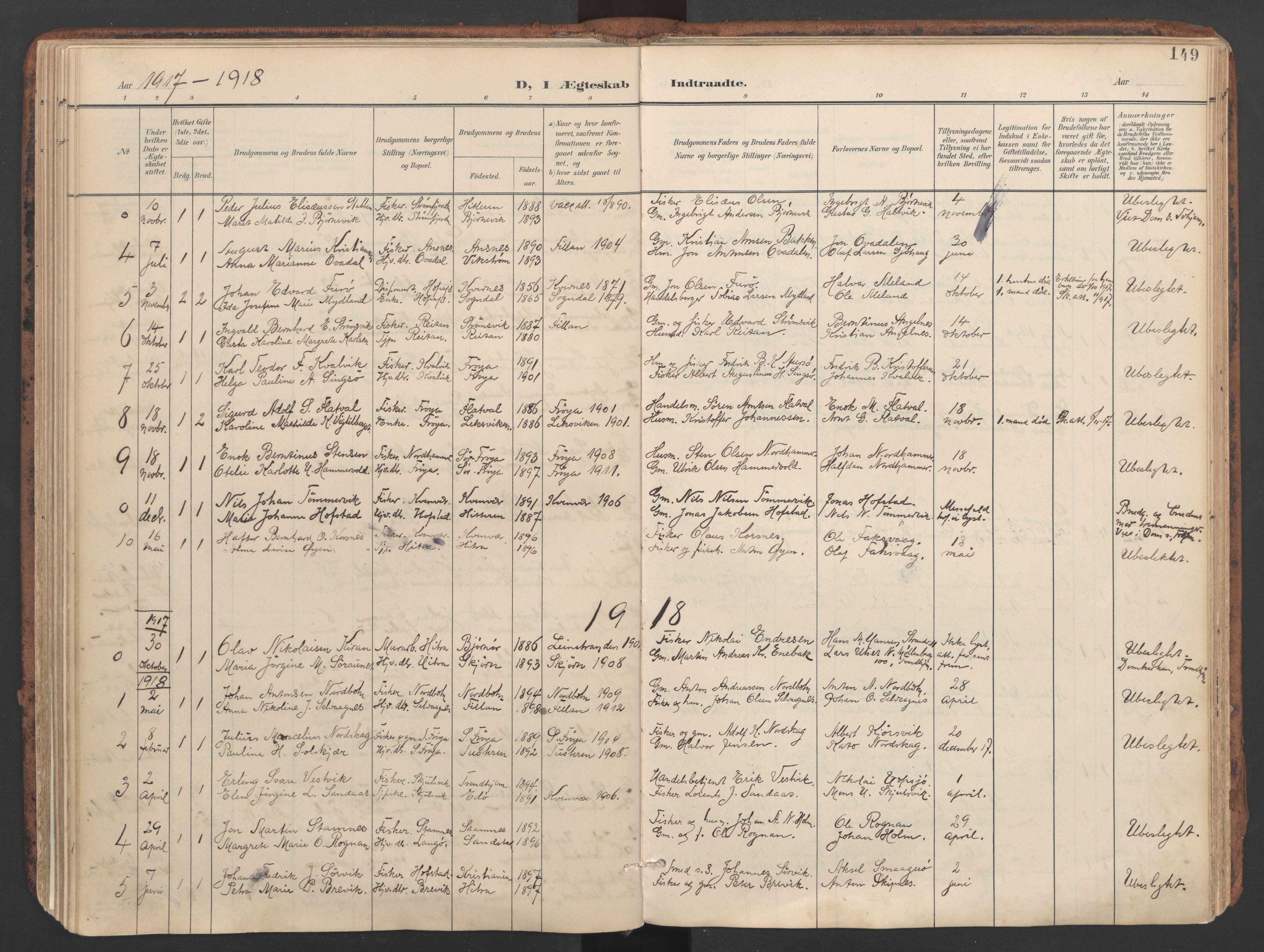 SAT, Ministerialprotokoller, klokkerbøker og fødselsregistre - Sør-Trøndelag, 634/L0537: Ministerialbok nr. 634A13, 1896-1922, s. 149