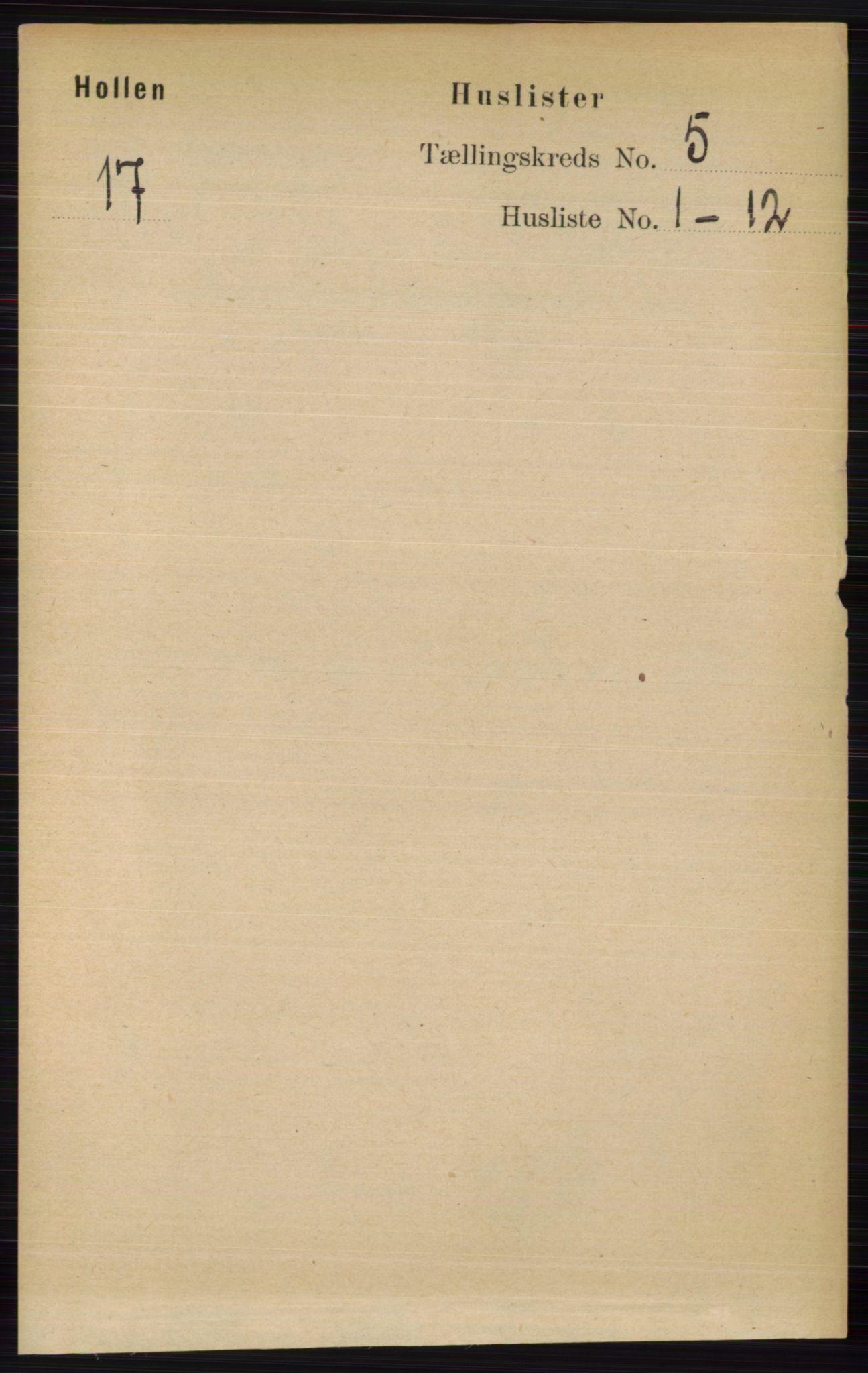 RA, Folketelling 1891 for 0819 Holla herred, 1891, s. 2727