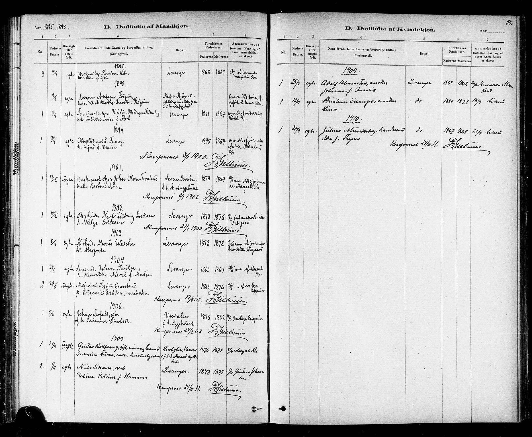 SAT, Ministerialprotokoller, klokkerbøker og fødselsregistre - Nord-Trøndelag, 720/L0192: Klokkerbok nr. 720C01, 1880-1917, s. 50