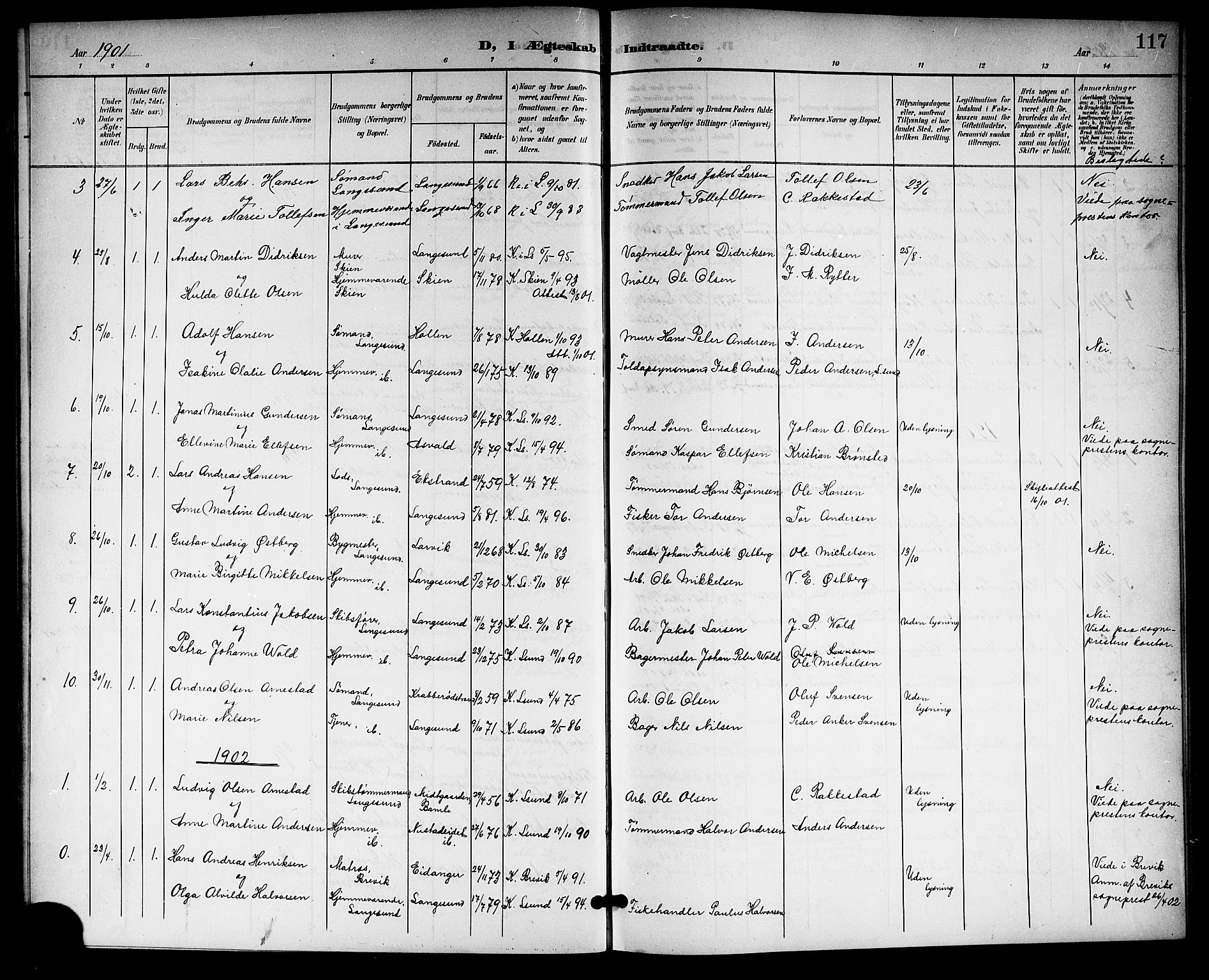 SAKO, Langesund kirkebøker, G/Ga/L0006: Klokkerbok nr. 6, 1899-1918, s. 117