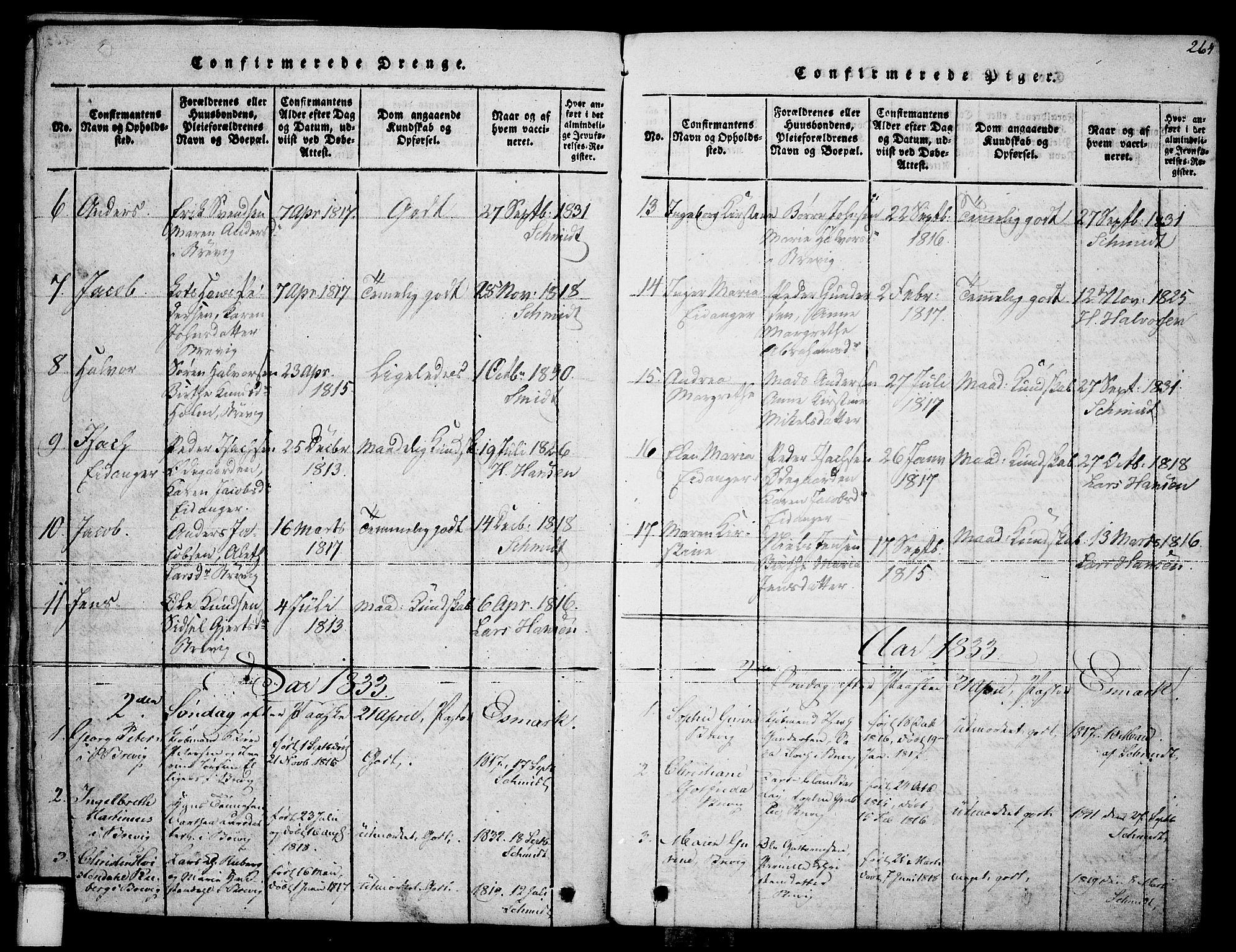 SAKO, Brevik kirkebøker, F/Fa/L0004: Ministerialbok nr. 4, 1814-1846, s. 264