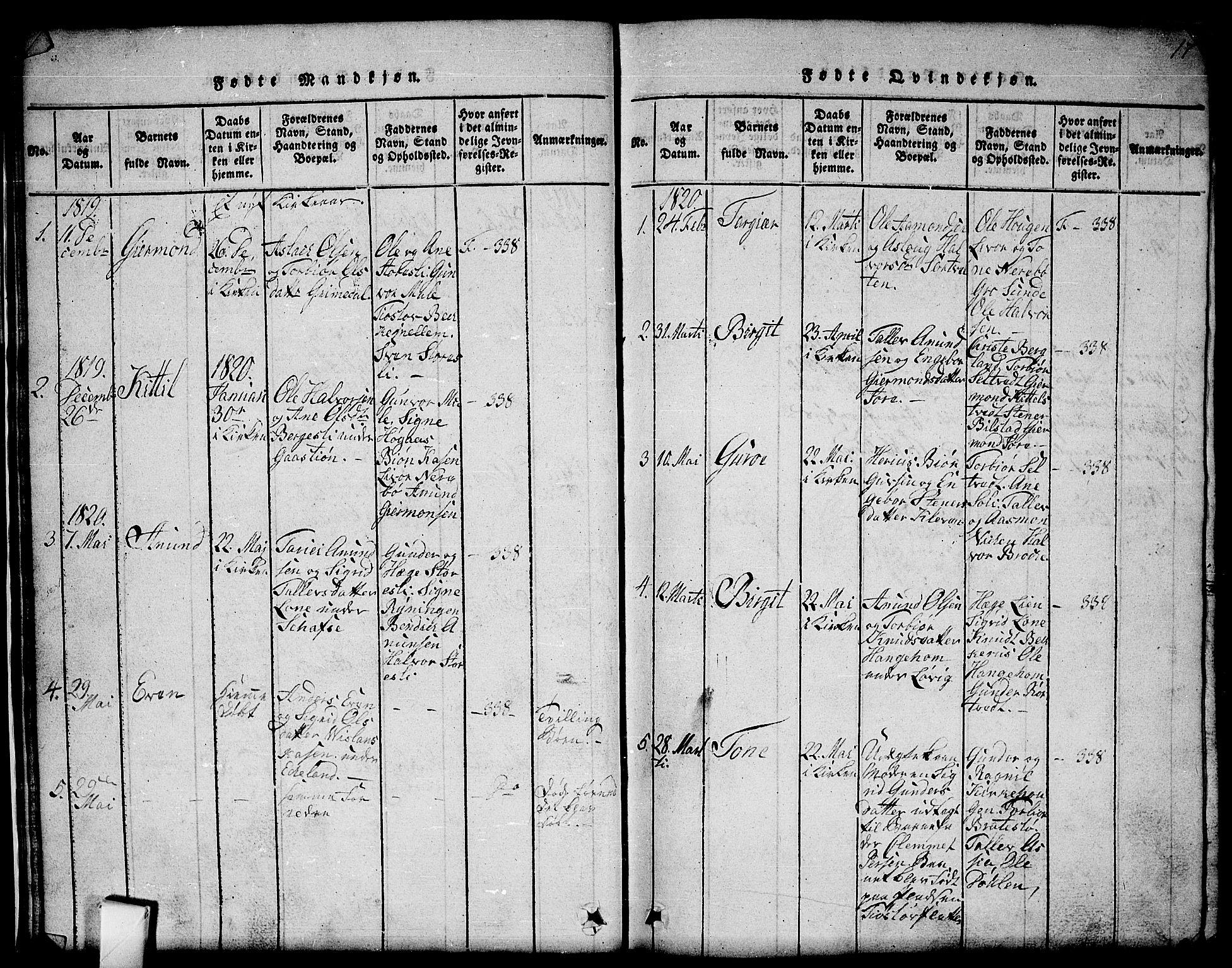 SAKO, Mo kirkebøker, G/Gb/L0001: Klokkerbok nr. II 1, 1814-1843, s. 17