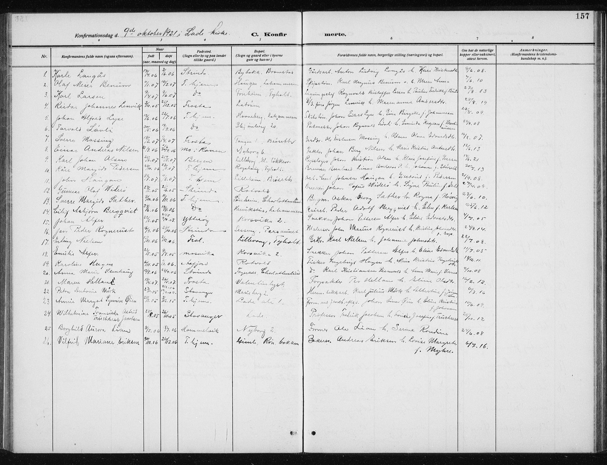 SAT, Ministerialprotokoller, klokkerbøker og fødselsregistre - Sør-Trøndelag, 606/L0314: Klokkerbok nr. 606C10, 1911-1937, s. 157