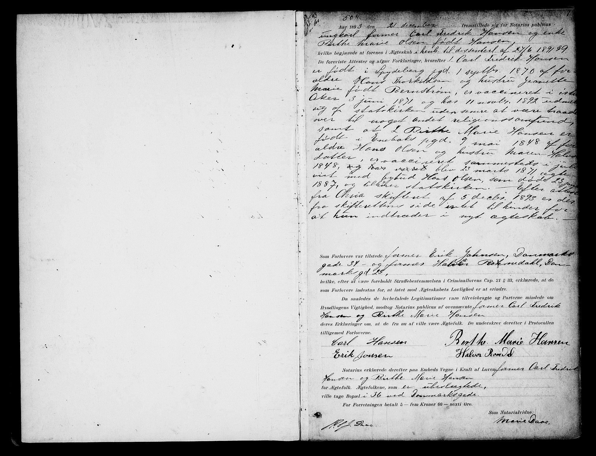 SAO, Oslo byfogd avd. I, L/Lb/Lbb/L0002: Notarialprotokoll, rekke II: Vigsler, 1893-1897, s. 1a