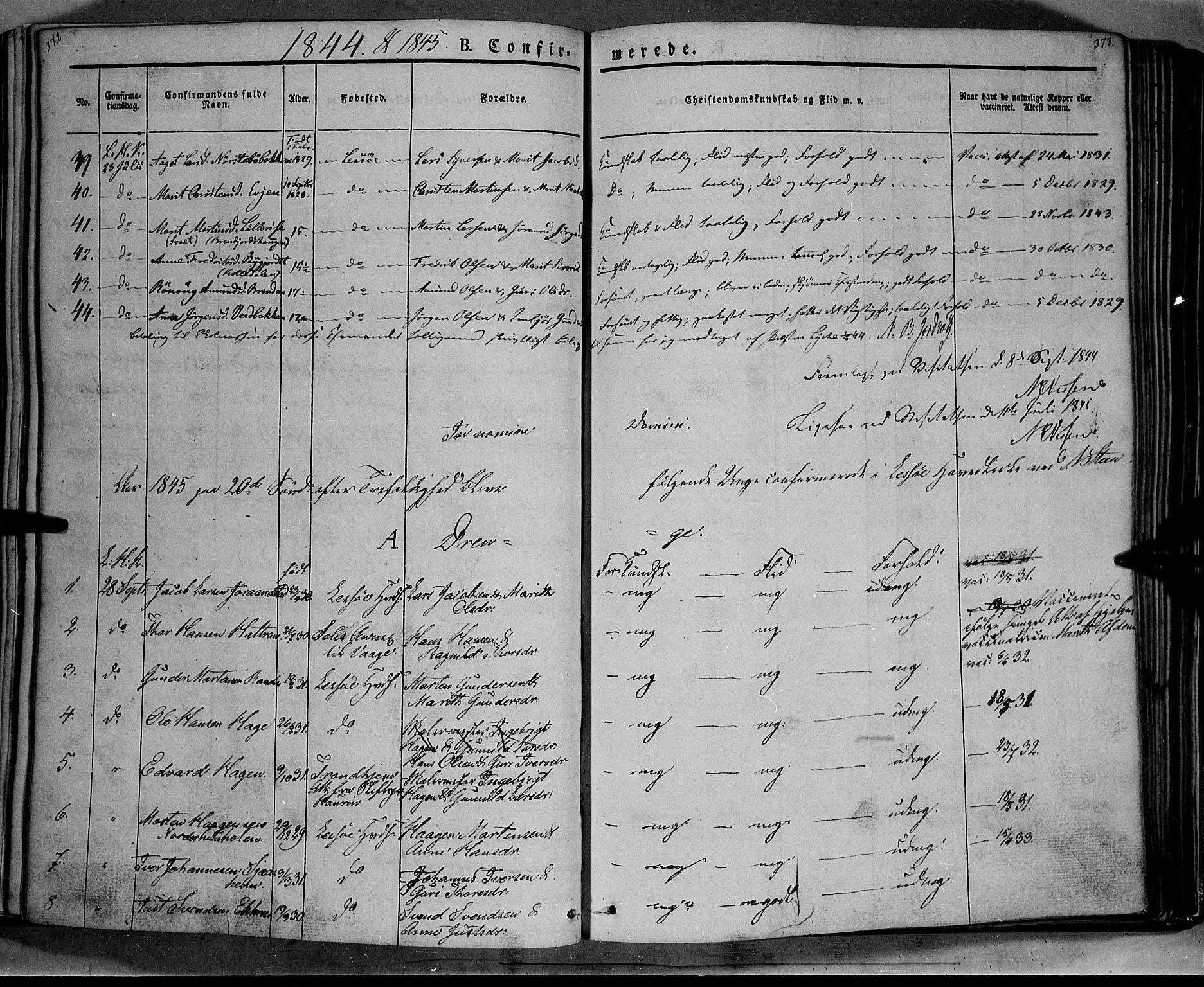 SAH, Lesja prestekontor, Ministerialbok nr. 6A, 1843-1854, s. 372-373