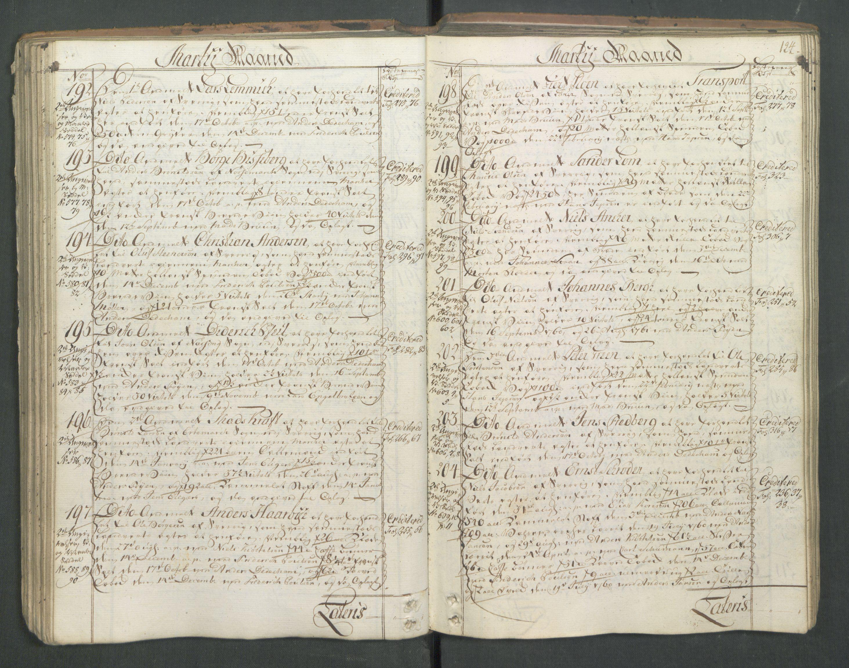 RA, Generaltollkammeret, tollregnskaper, R01/L0046: Tollregnskaper Fredrikshald, 1762, s. 123b-124a