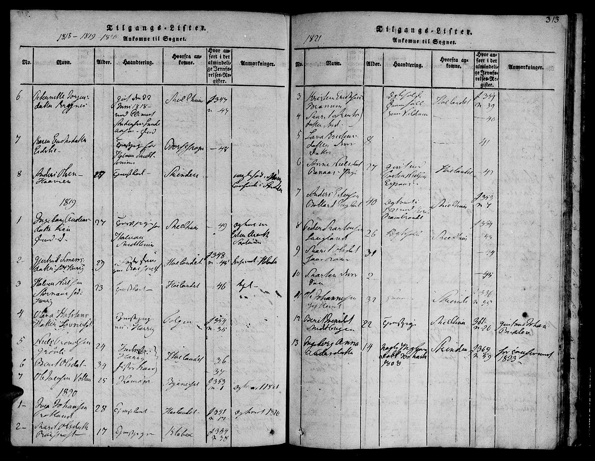 SAT, Ministerialprotokoller, klokkerbøker og fødselsregistre - Sør-Trøndelag, 692/L1102: Ministerialbok nr. 692A02, 1816-1842, s. 313