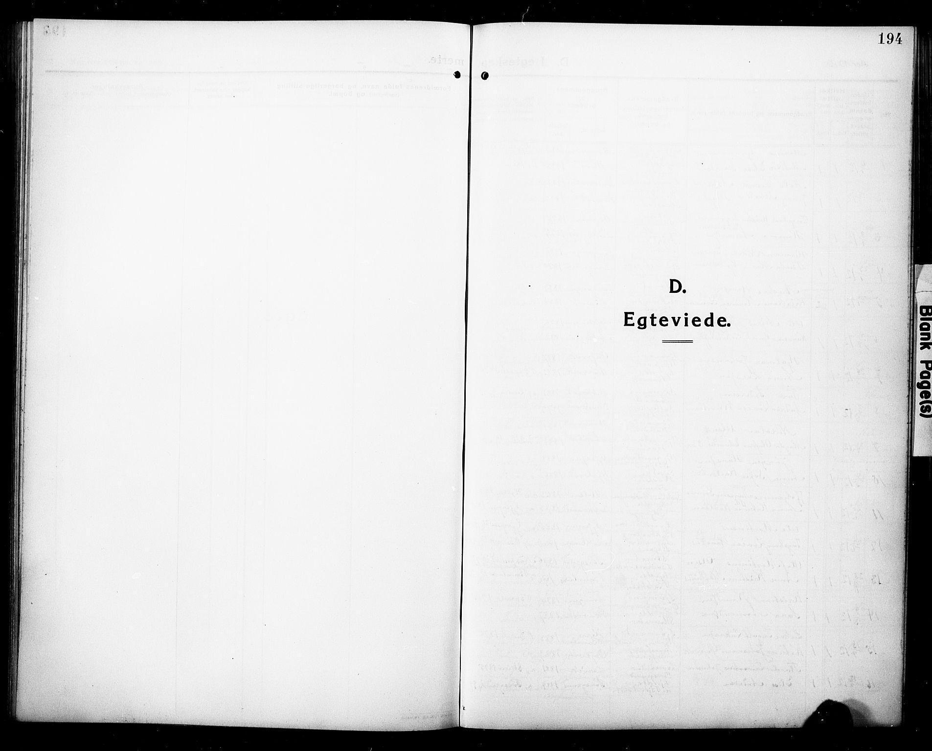 SAKO, Eidanger kirkebøker, G/Ga/L0004: Klokkerbok nr. 4, 1912-1927, s. 194