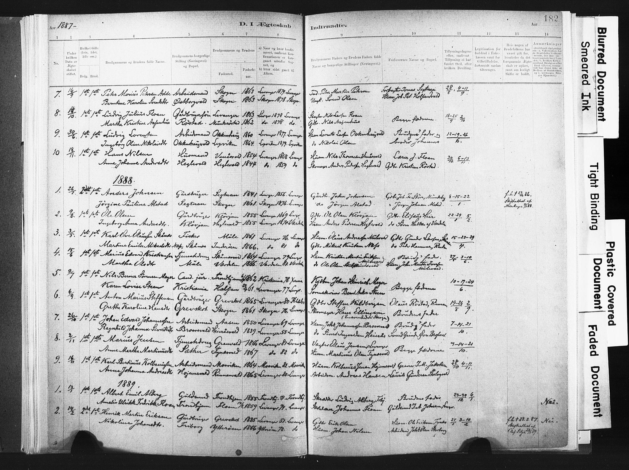 SAT, Ministerialprotokoller, klokkerbøker og fødselsregistre - Nord-Trøndelag, 721/L0207: Ministerialbok nr. 721A02, 1880-1911, s. 182