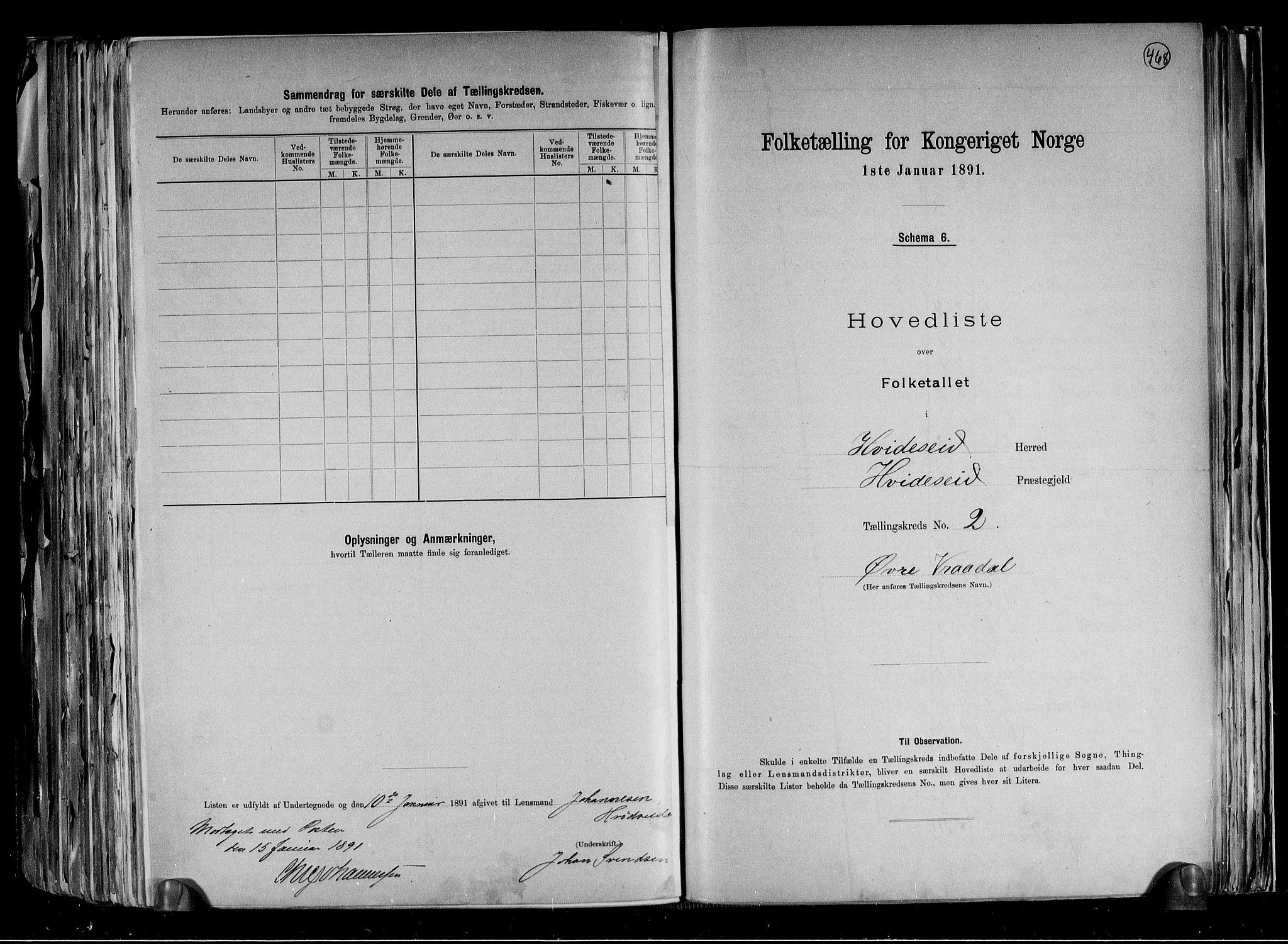 RA, Folketelling 1891 for 0829 Kviteseid herred, 1891, s. 7