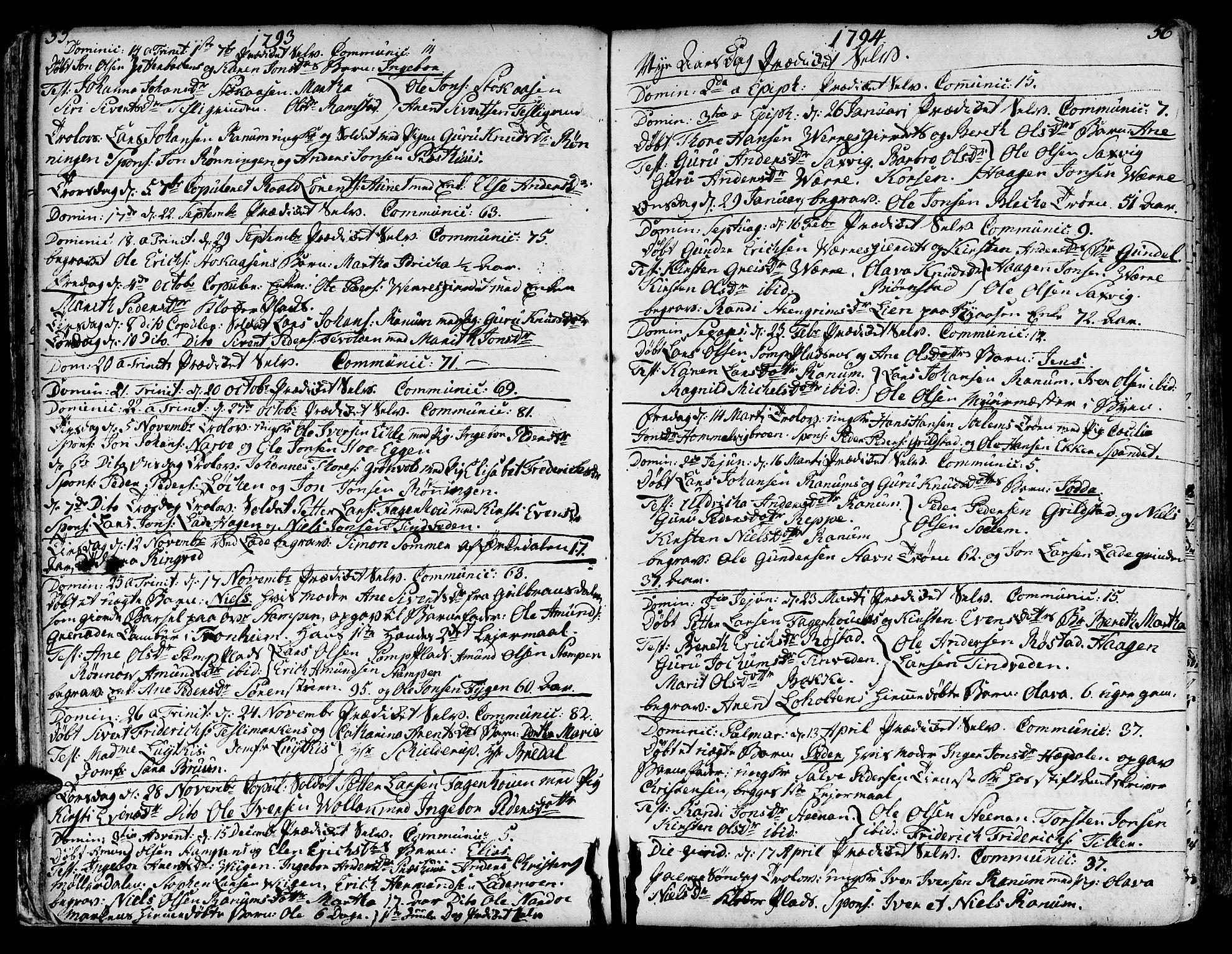 SAT, Ministerialprotokoller, klokkerbøker og fødselsregistre - Sør-Trøndelag, 606/L0280: Ministerialbok nr. 606A02 /1, 1781-1817, s. 55-56
