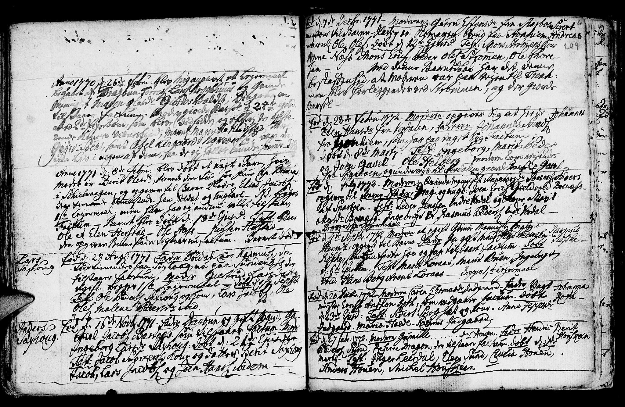 SAT, Ministerialprotokoller, klokkerbøker og fødselsregistre - Nord-Trøndelag, 730/L0273: Ministerialbok nr. 730A02, 1762-1802, s. 209