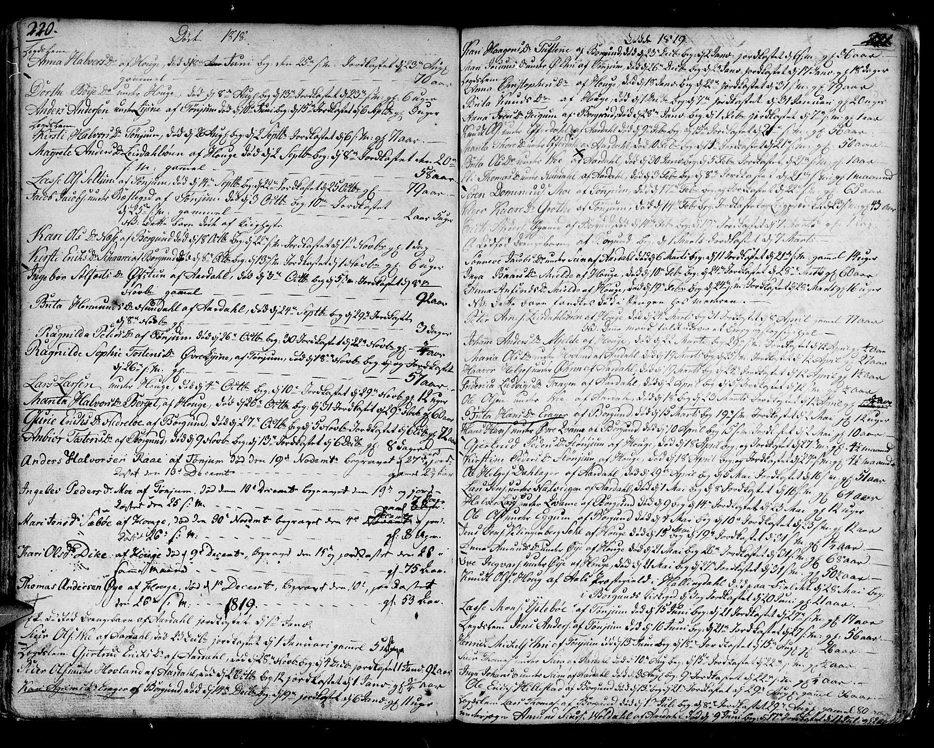 SAB, Lærdal Sokneprestembete, Ministerialbok nr. A 4, 1805-1821, s. 220-221
