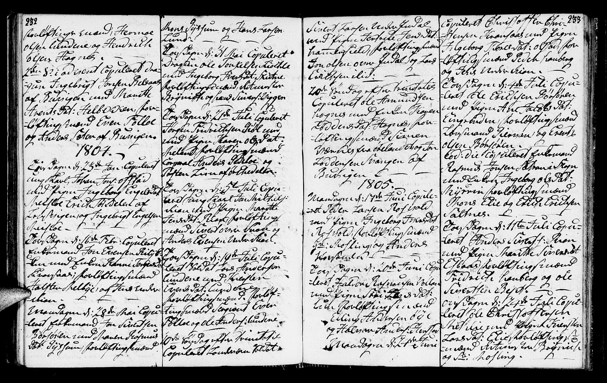 SAT, Ministerialprotokoller, klokkerbøker og fødselsregistre - Sør-Trøndelag, 665/L0769: Ministerialbok nr. 665A04, 1803-1816, s. 232-233
