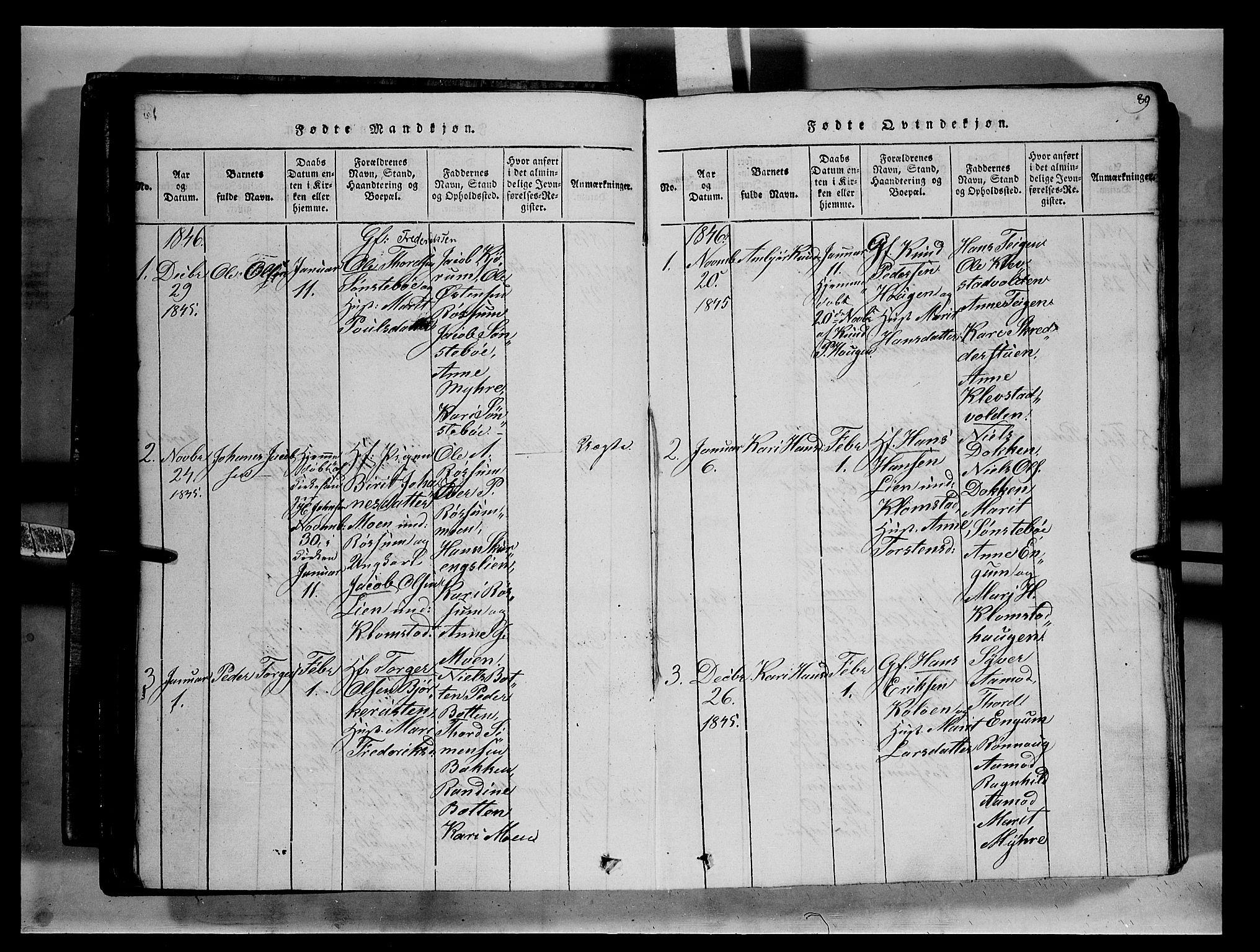 SAH, Fron prestekontor, H/Ha/Hab/L0002: Klokkerbok nr. 2, 1816-1850, s. 89