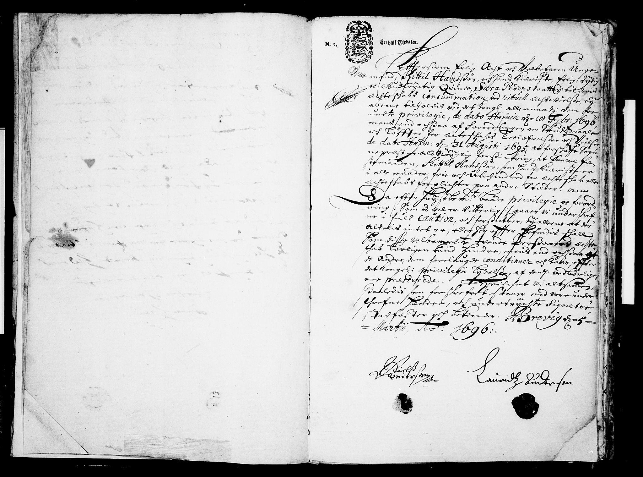 SAKO, Eidanger kirkebøker, F/Fa/L0001: Ministerialbok nr. 1, 1695-1717, s. 3