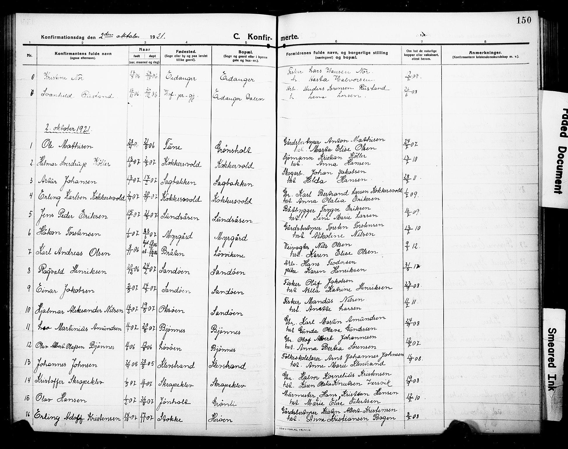 SAKO, Eidanger kirkebøker, G/Ga/L0004: Klokkerbok nr. 4, 1912-1927, s. 150