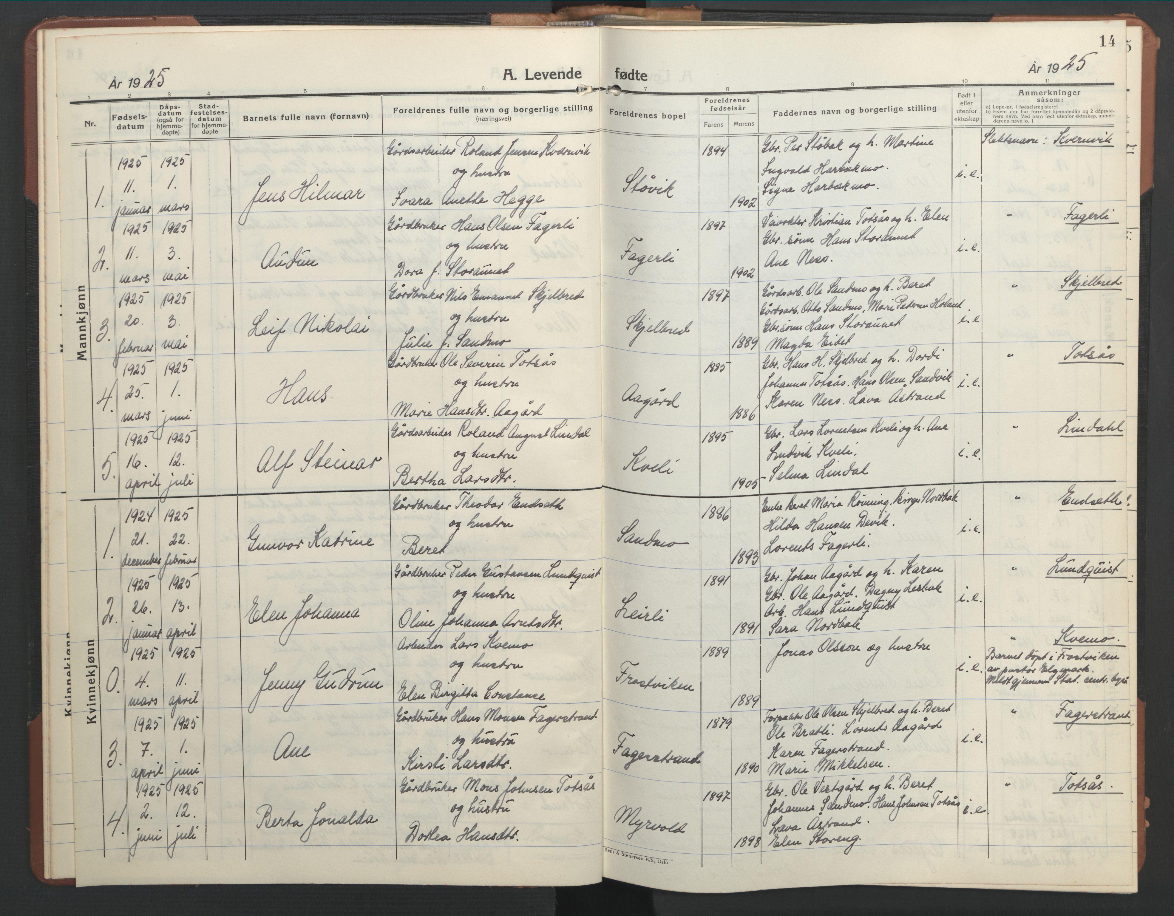 SAT, Ministerialprotokoller, klokkerbøker og fødselsregistre - Nord-Trøndelag, 755/L0500: Klokkerbok nr. 755C01, 1920-1962, s. 14