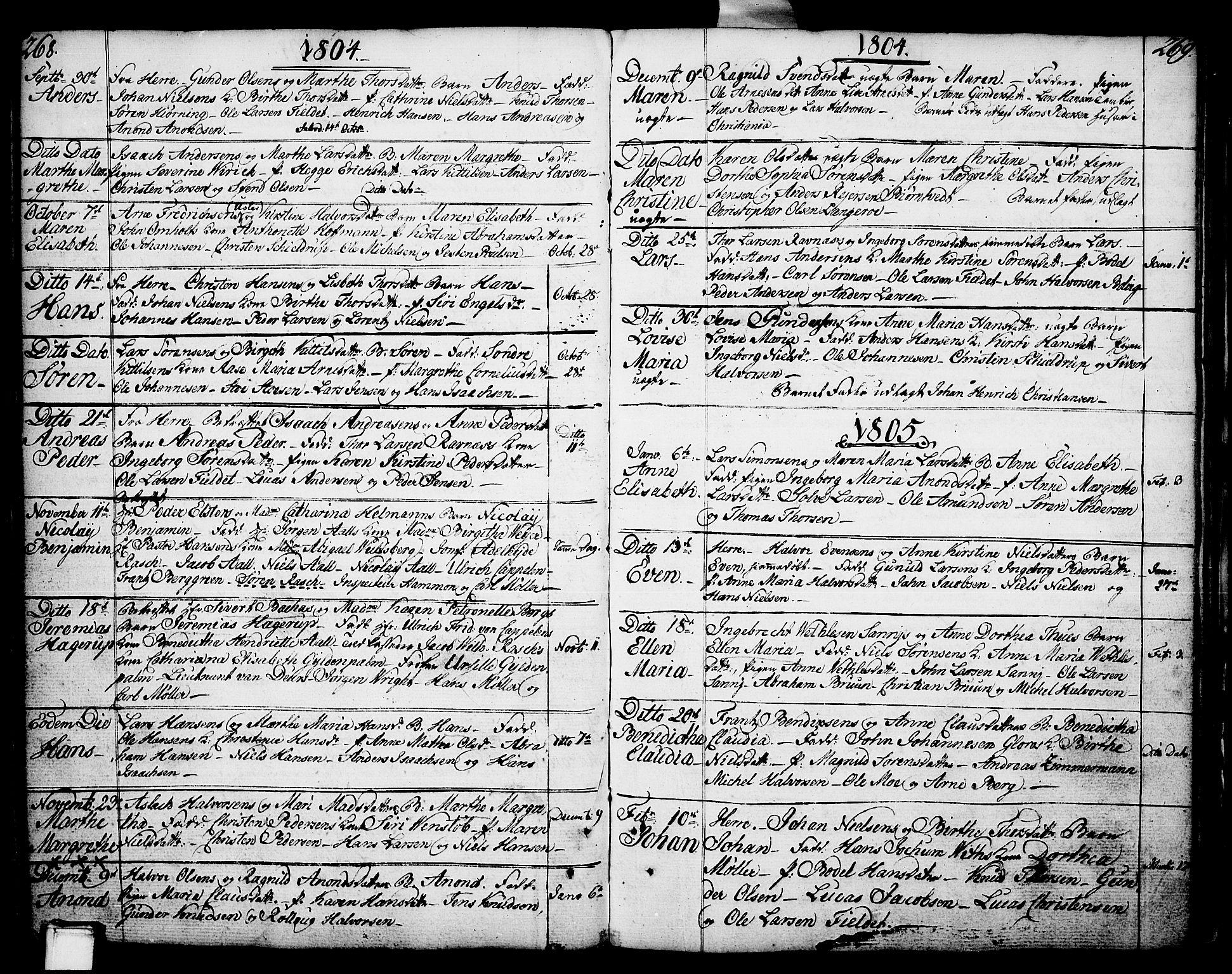 SAKO, Porsgrunn kirkebøker , F/Fa/L0002: Ministerialbok nr. 2, 1764-1814, s. 268-269