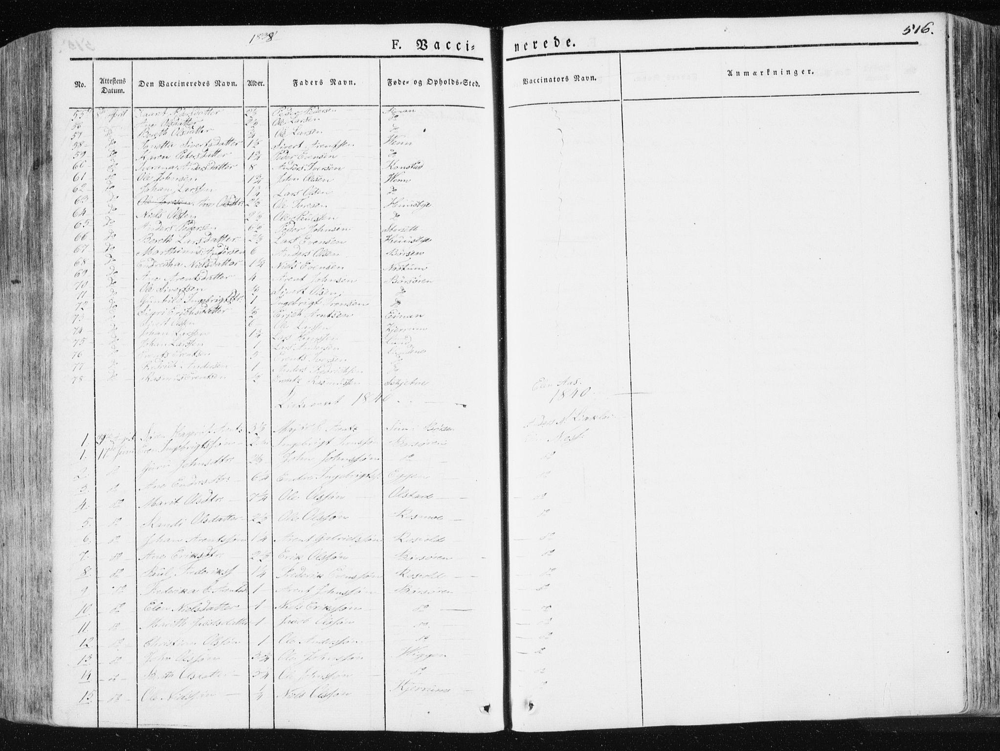 SAT, Ministerialprotokoller, klokkerbøker og fødselsregistre - Sør-Trøndelag, 665/L0771: Ministerialbok nr. 665A06, 1830-1856, s. 516
