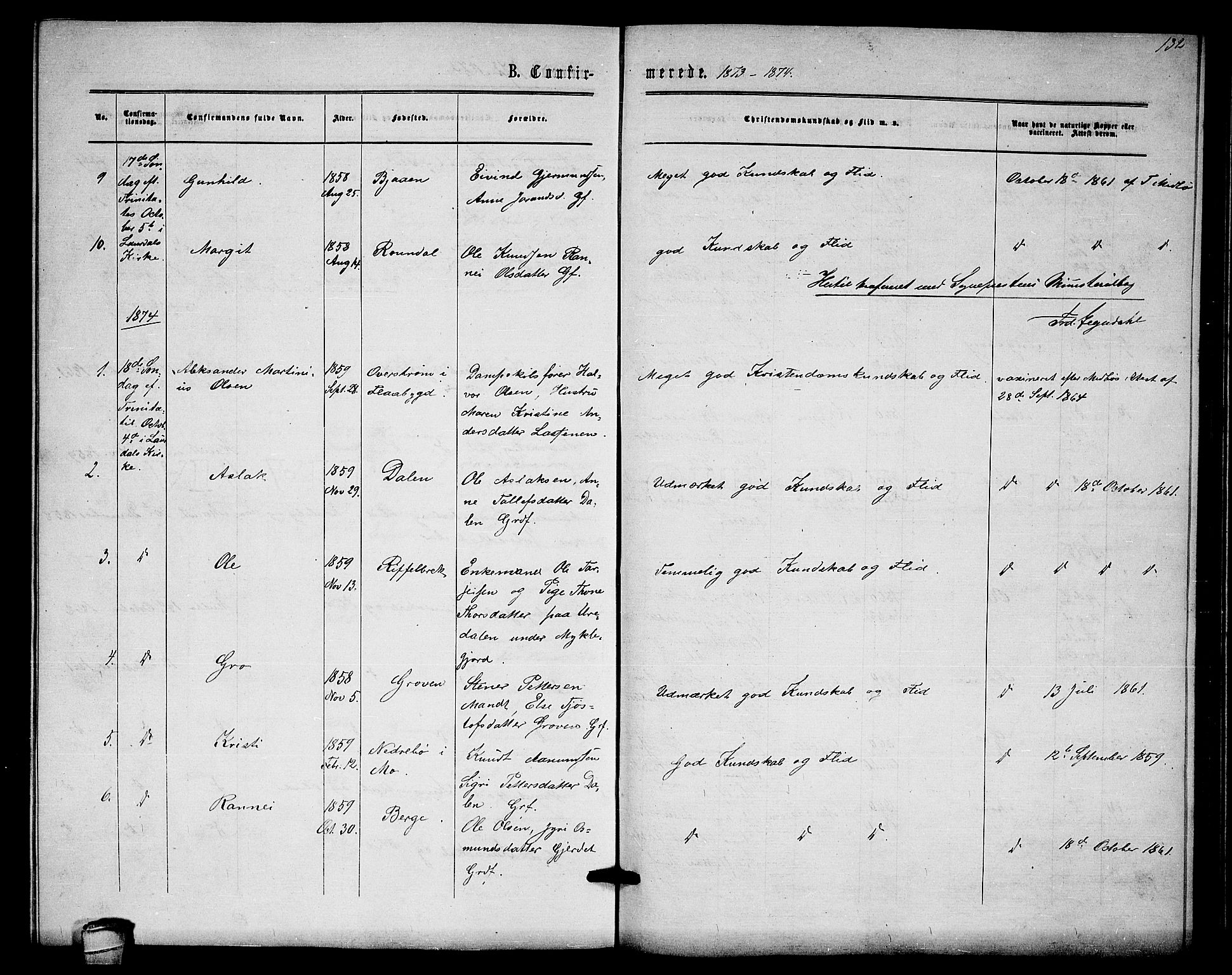 SAKO, Lårdal kirkebøker, G/Gb/L0002: Klokkerbok nr. II 2, 1865-1888, s. 132