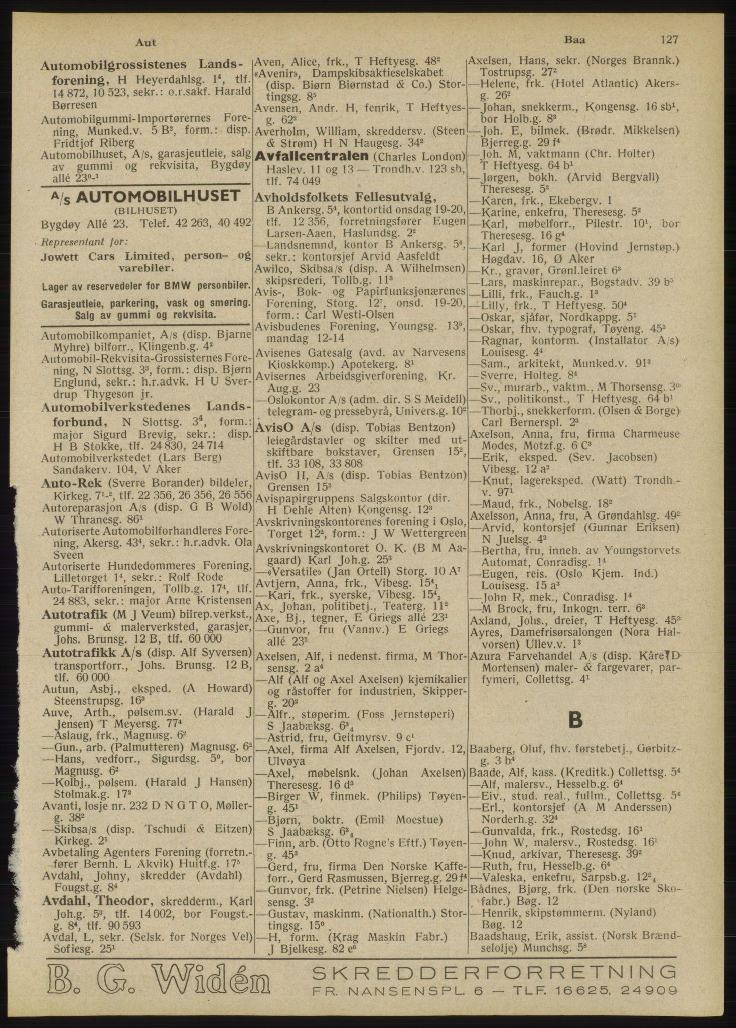 RA, Oslo adressebok (publikasjon)*, 1946, s. 127
