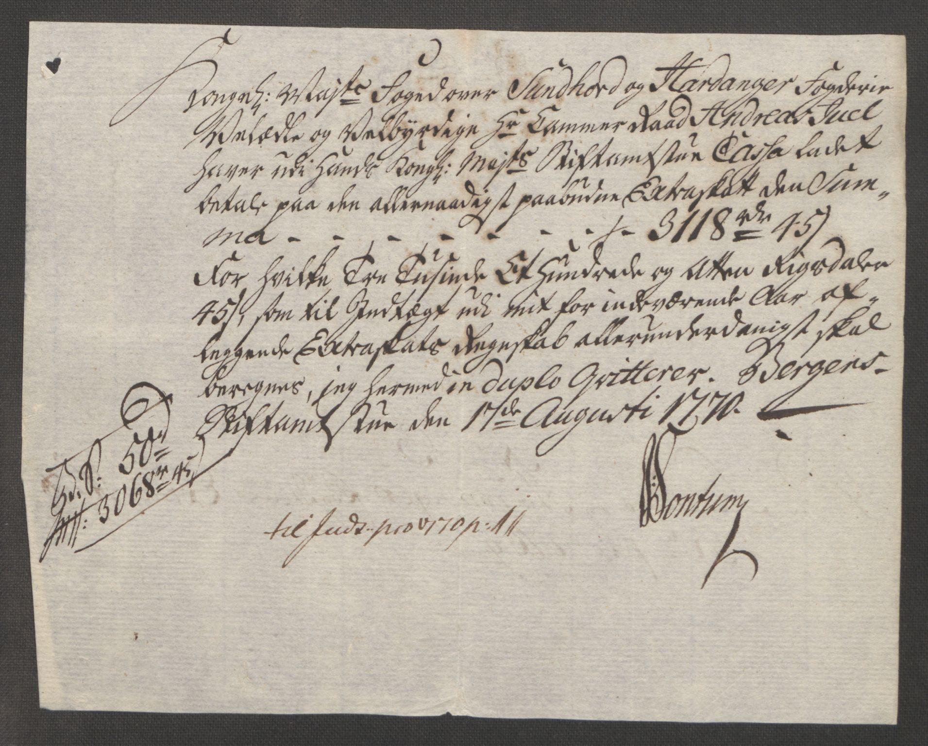 RA, Rentekammeret inntil 1814, Reviderte regnskaper, Fogderegnskap, R48/L3136: Ekstraskatten Sunnhordland og Hardanger, 1762-1772, s. 193