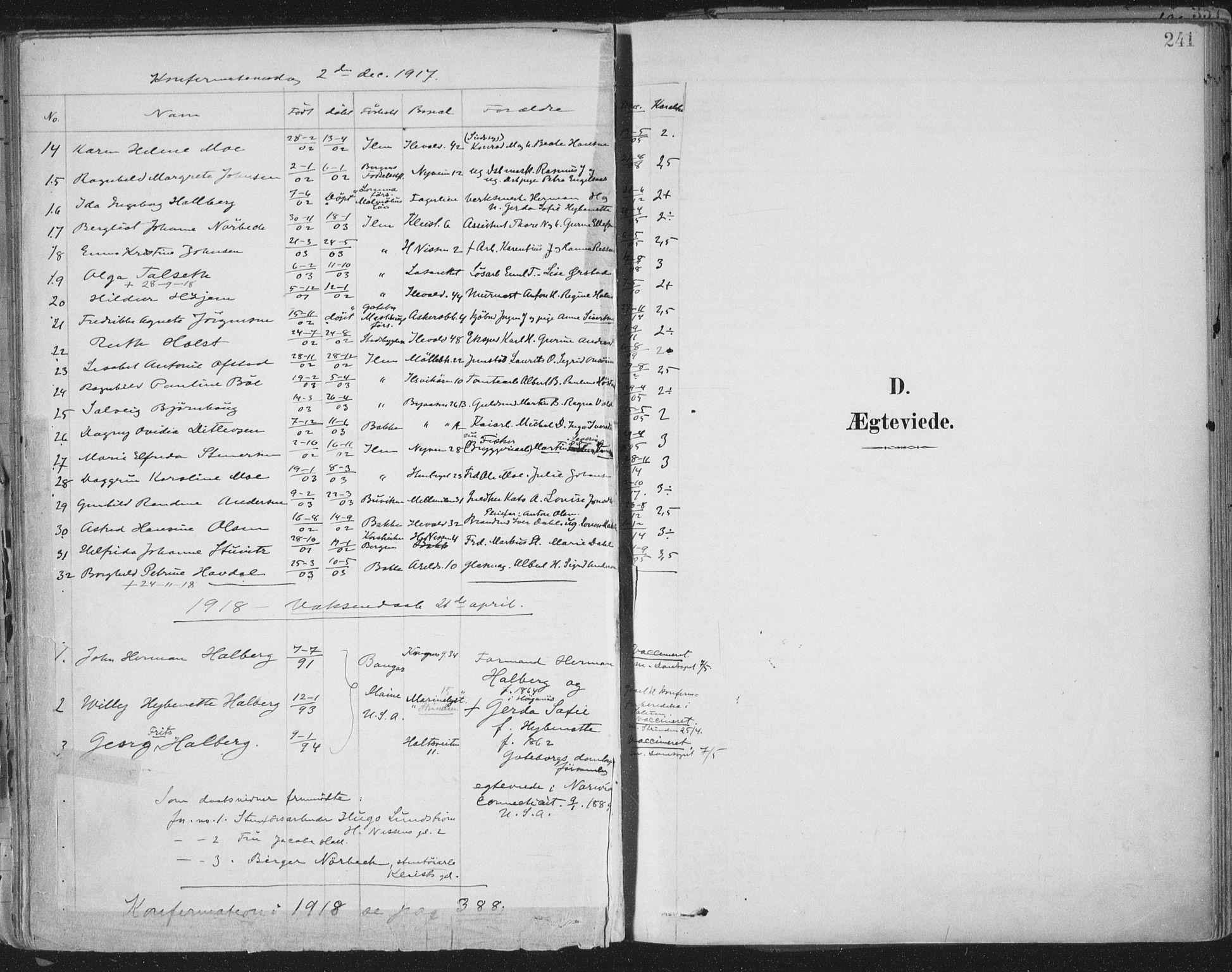 SAT, Ministerialprotokoller, klokkerbøker og fødselsregistre - Sør-Trøndelag, 603/L0167: Ministerialbok nr. 603A06, 1896-1932, s. 241