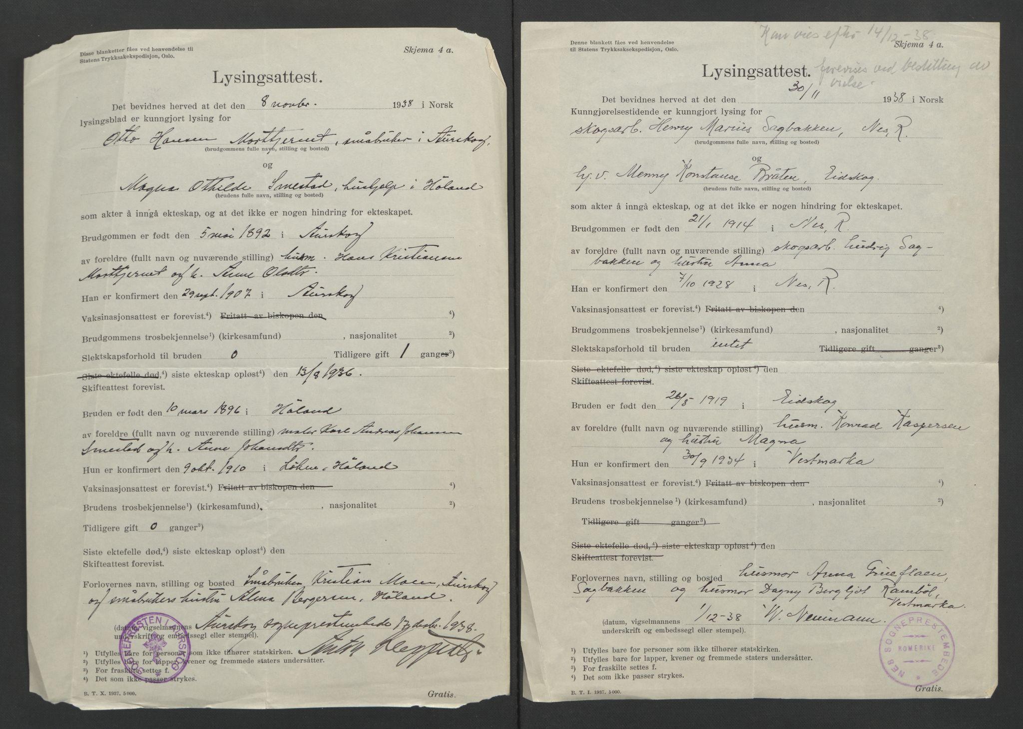 SAO, Nes tingrett, L/Lc/Lca/L0001: Vigselbok, 1920-1943, s. upaginert
