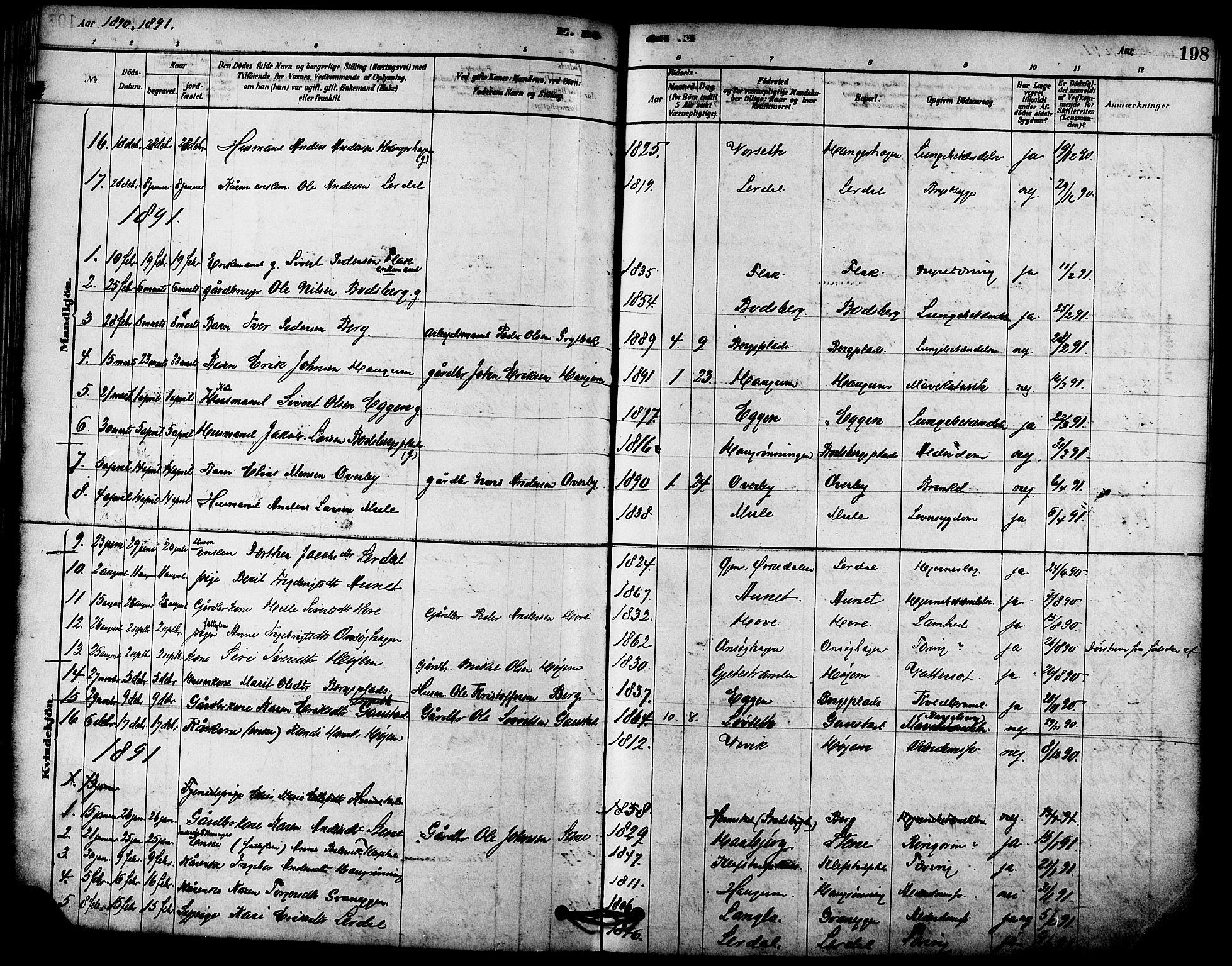 SAT, Ministerialprotokoller, klokkerbøker og fødselsregistre - Sør-Trøndelag, 612/L0378: Ministerialbok nr. 612A10, 1878-1897, s. 198