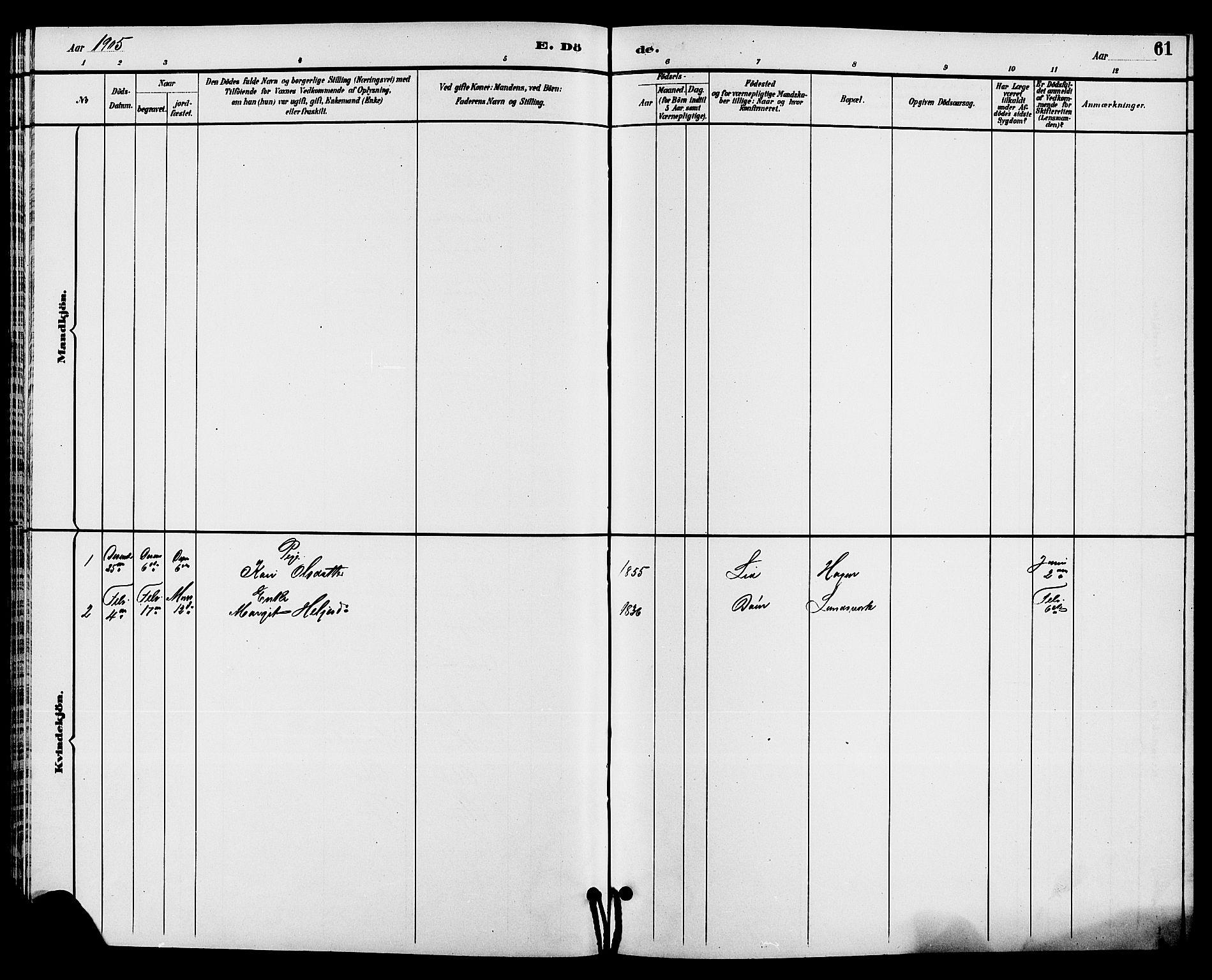 SAKO, Hjartdal kirkebøker, G/Gc/L0003: Klokkerbok nr. III 3, 1890-1907, s. 61