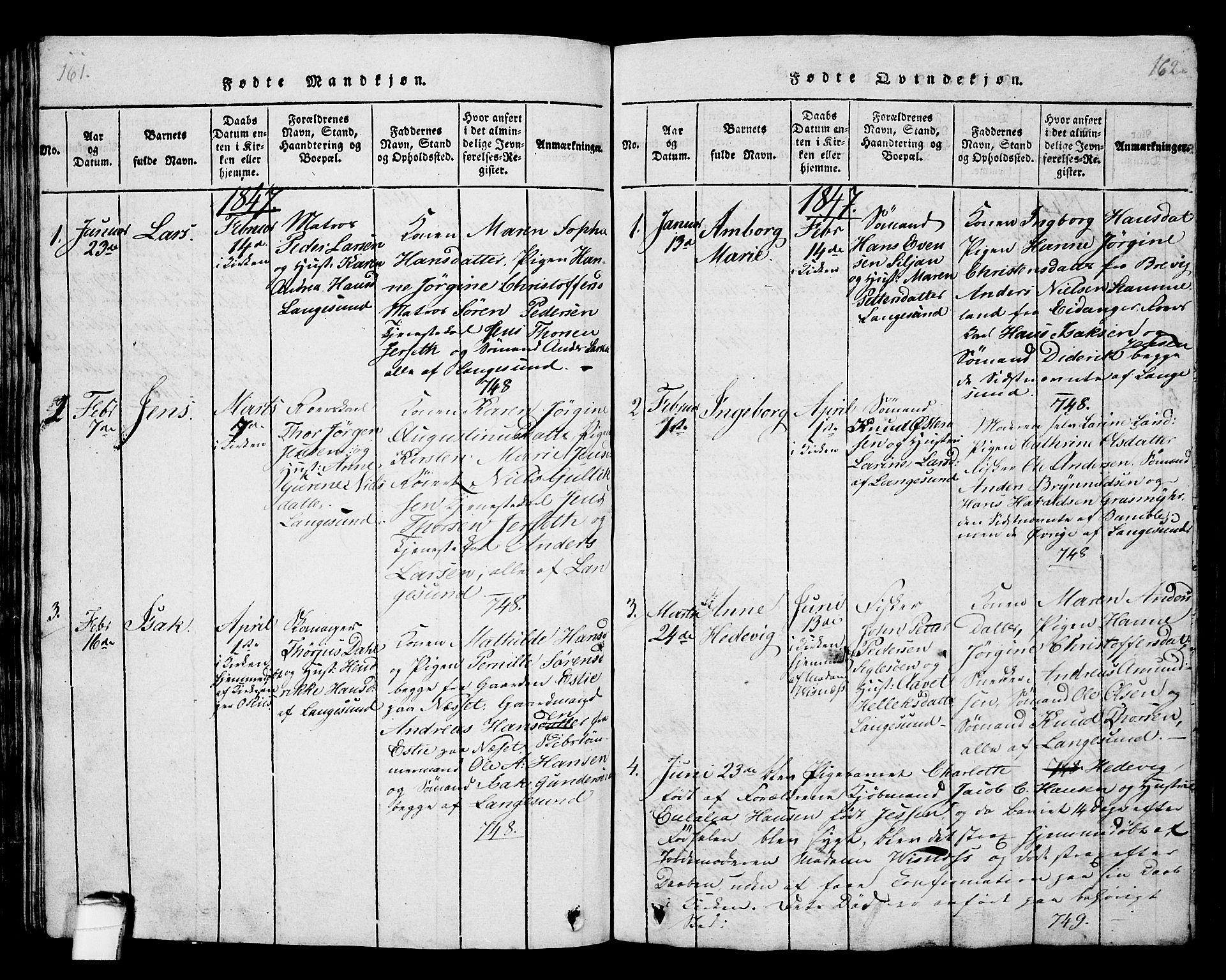 SAKO, Langesund kirkebøker, G/Ga/L0003: Klokkerbok nr. 3, 1815-1858, s. 161-162