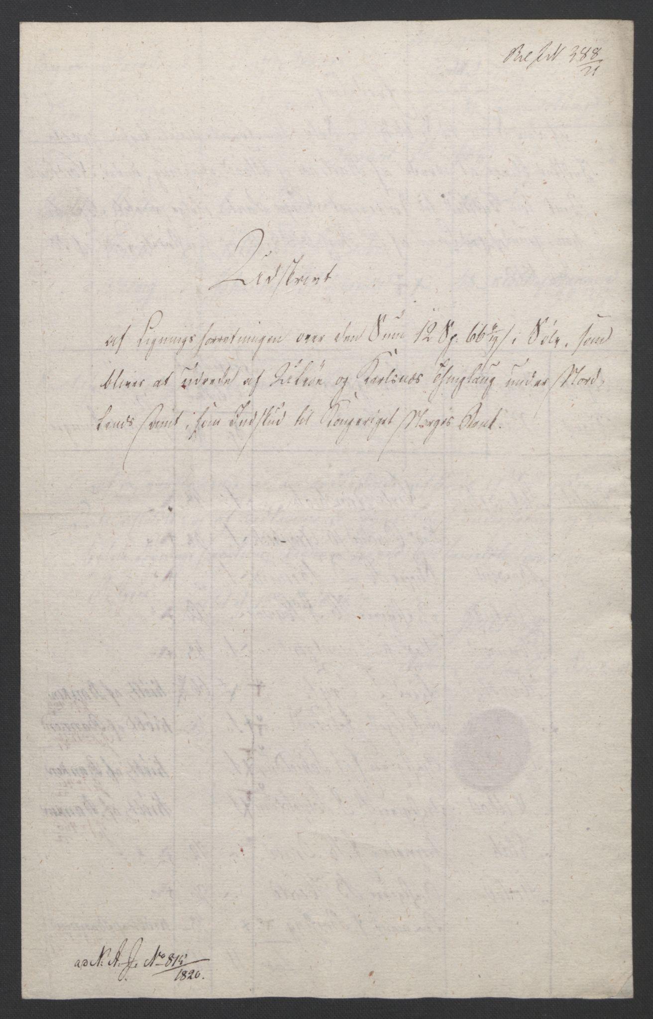 NOBA, Norges Bank/Sølvskatten 1816*, 1816-1821, s. 14