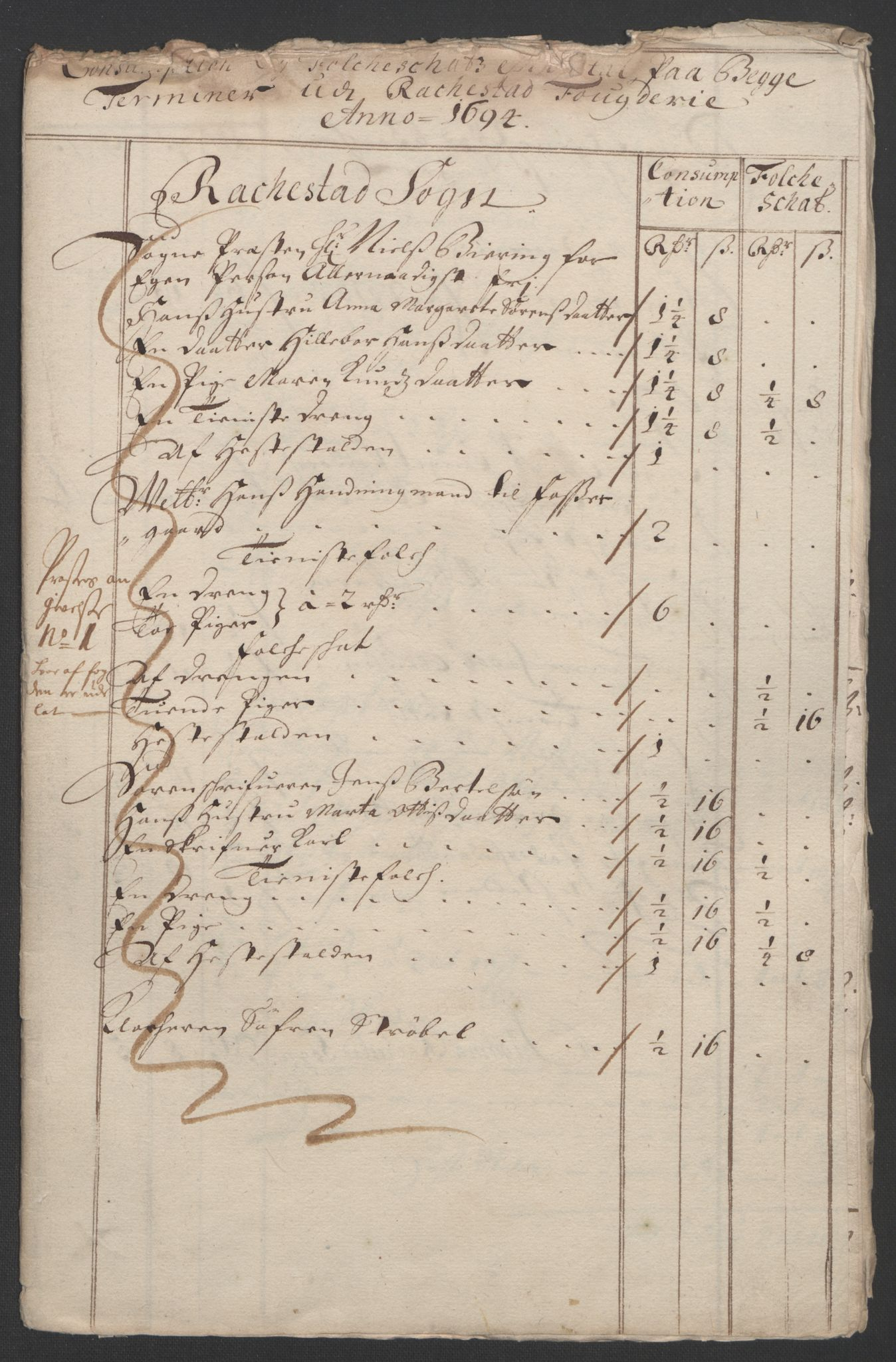 RA, Rentekammeret inntil 1814, Reviderte regnskaper, Fogderegnskap, R07/L0284: Fogderegnskap Rakkestad, Heggen og Frøland, 1694, s. 228