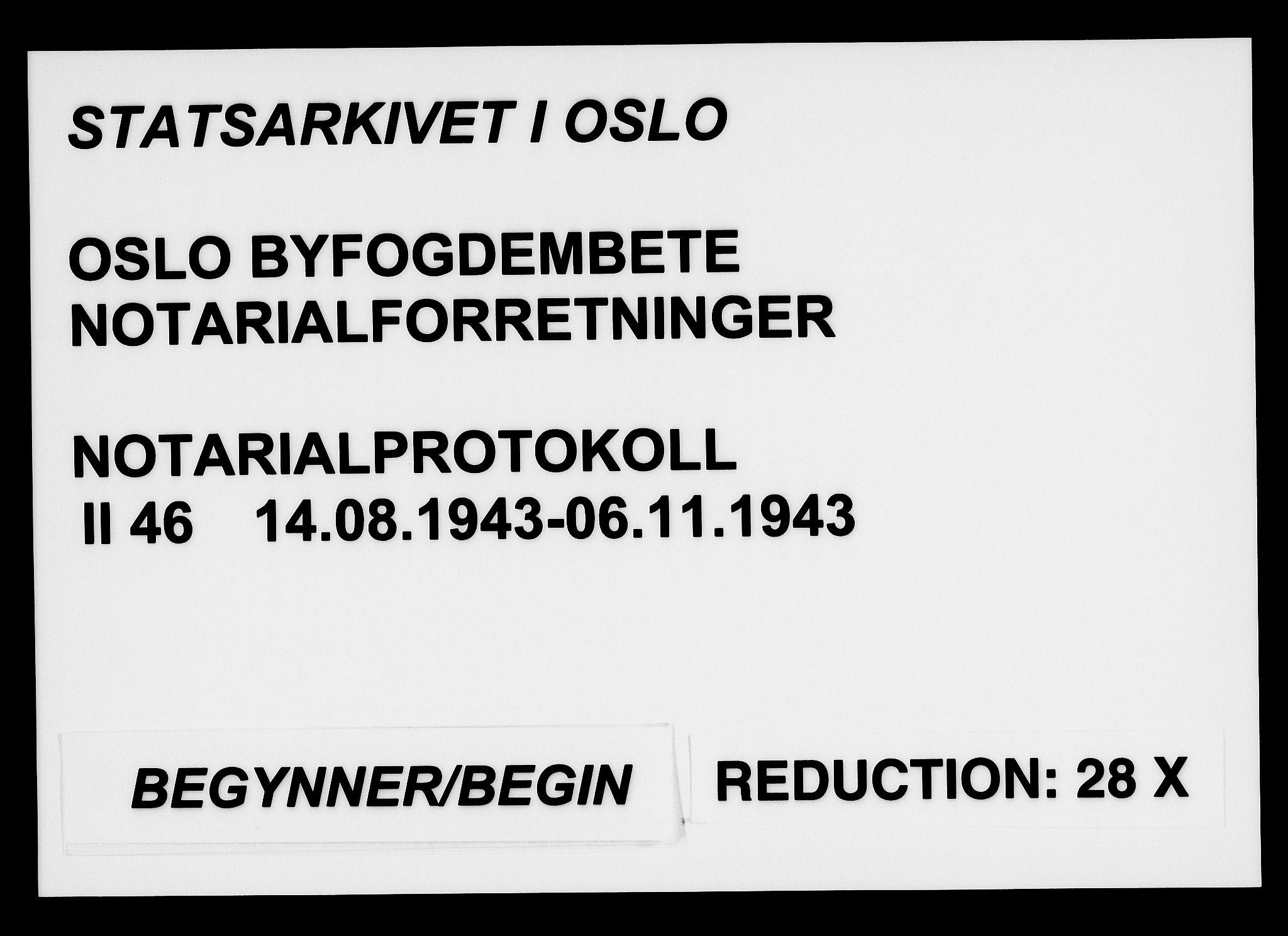 SAO, Oslo byfogd avd. I, L/Lb/Lbb/L0046: Notarialprotokoll, rekke II: Vigsler, 1943, s. upaginert