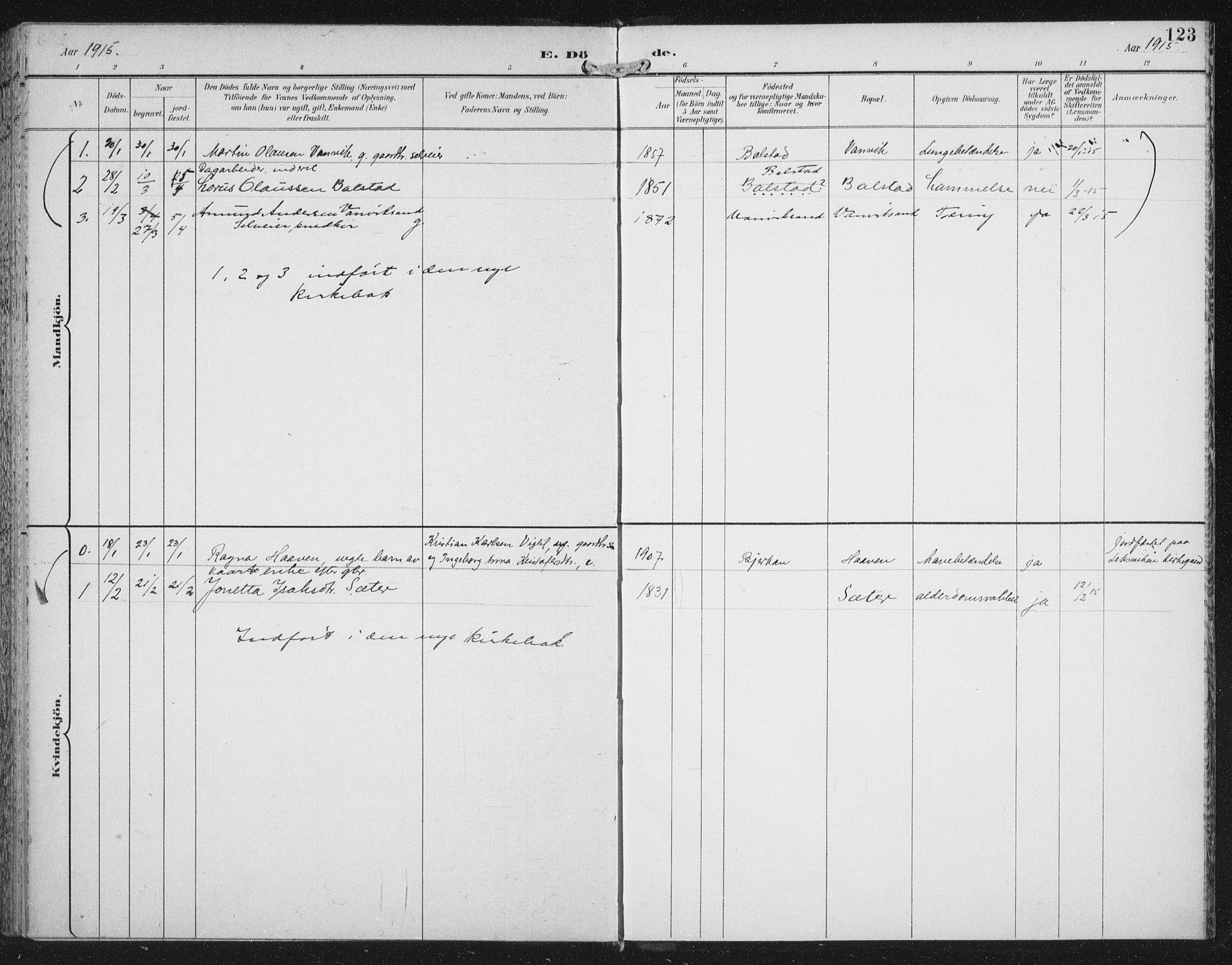 SAT, Ministerialprotokoller, klokkerbøker og fødselsregistre - Nord-Trøndelag, 702/L0024: Ministerialbok nr. 702A02, 1898-1914, s. 123