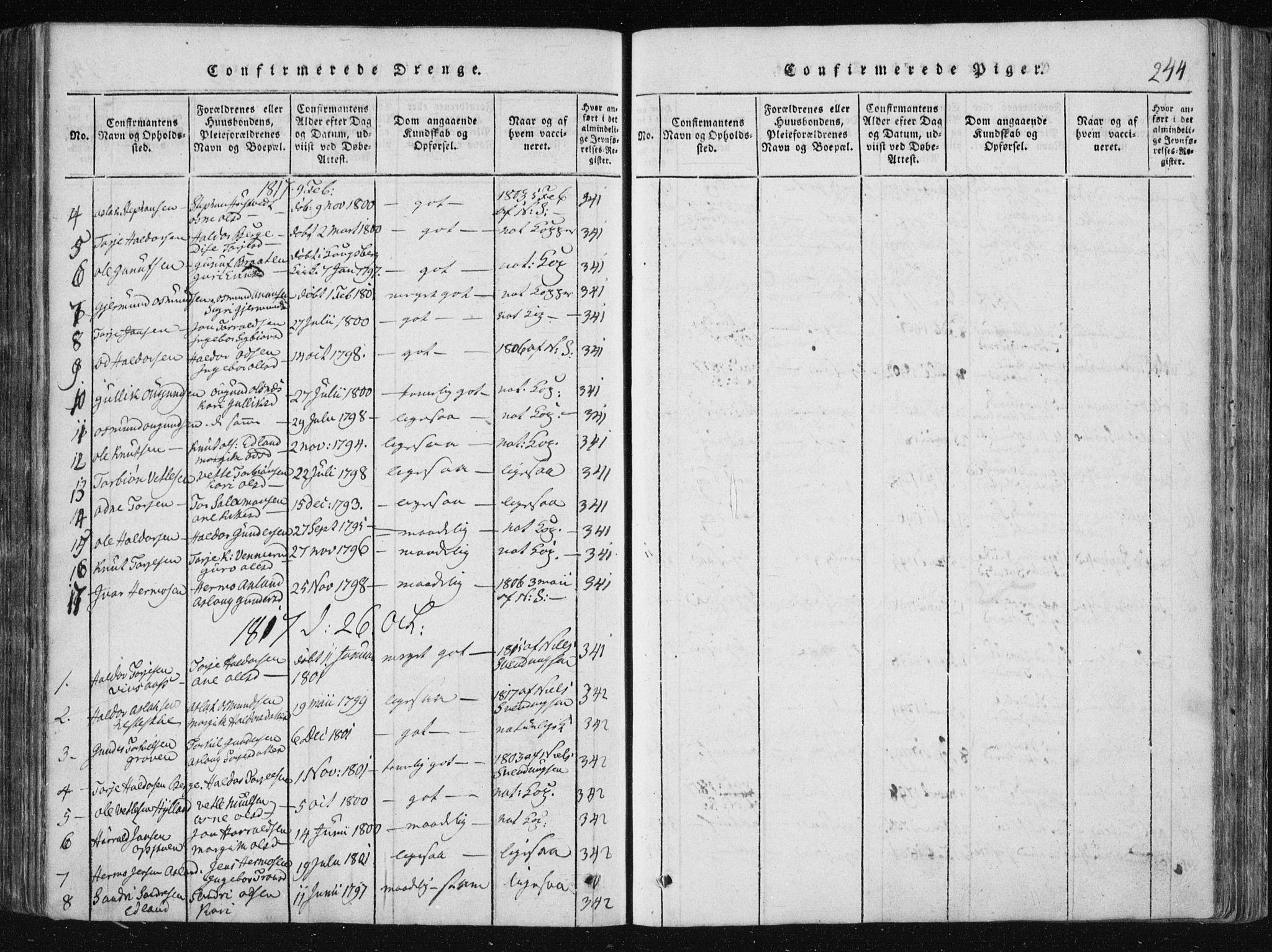 SAKO, Vinje kirkebøker, F/Fa/L0003: Ministerialbok nr. I 3, 1814-1843, s. 244