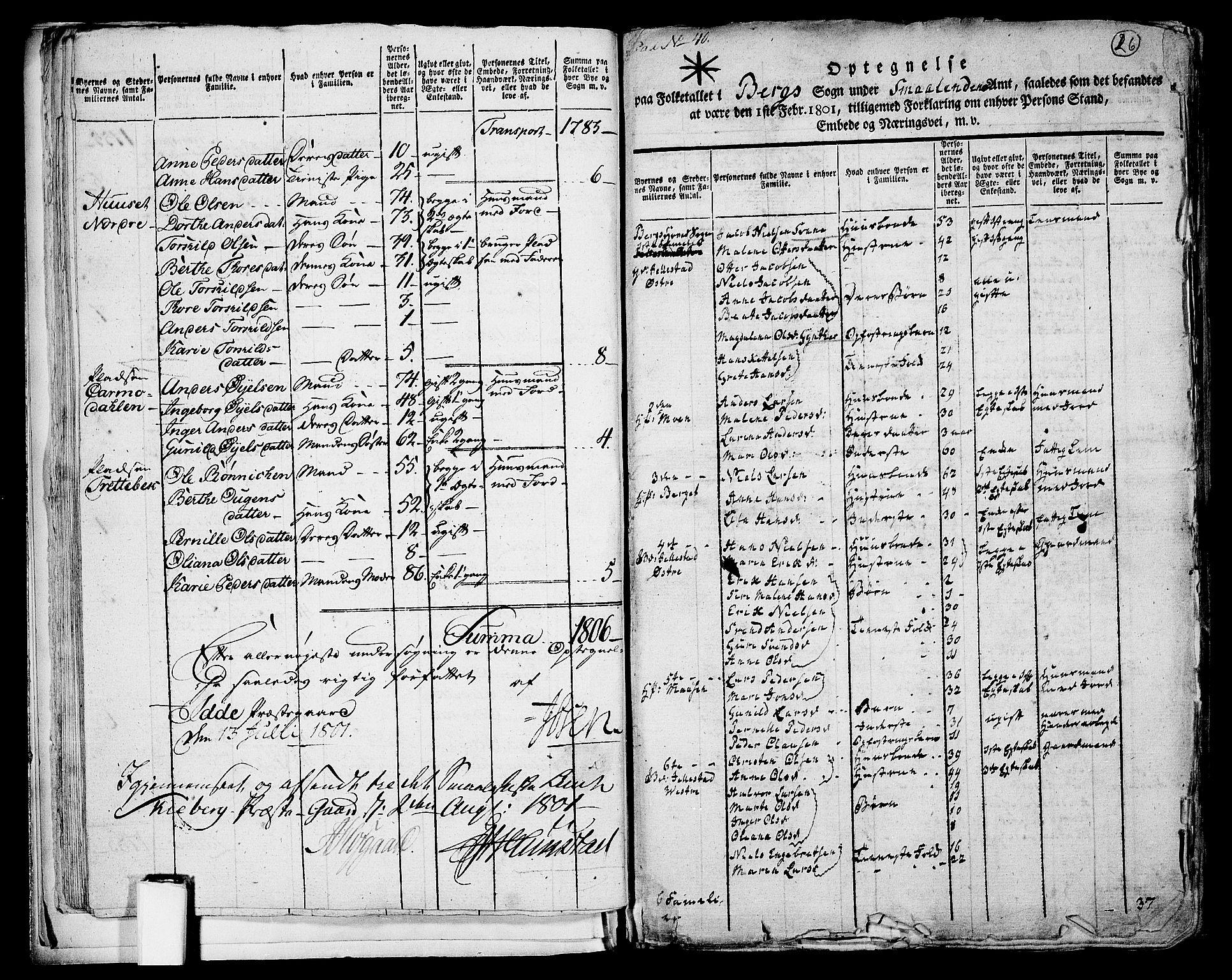 RA, Folketelling 1801 for 0116P Berg prestegjeld, 1801, s. 25b-26a