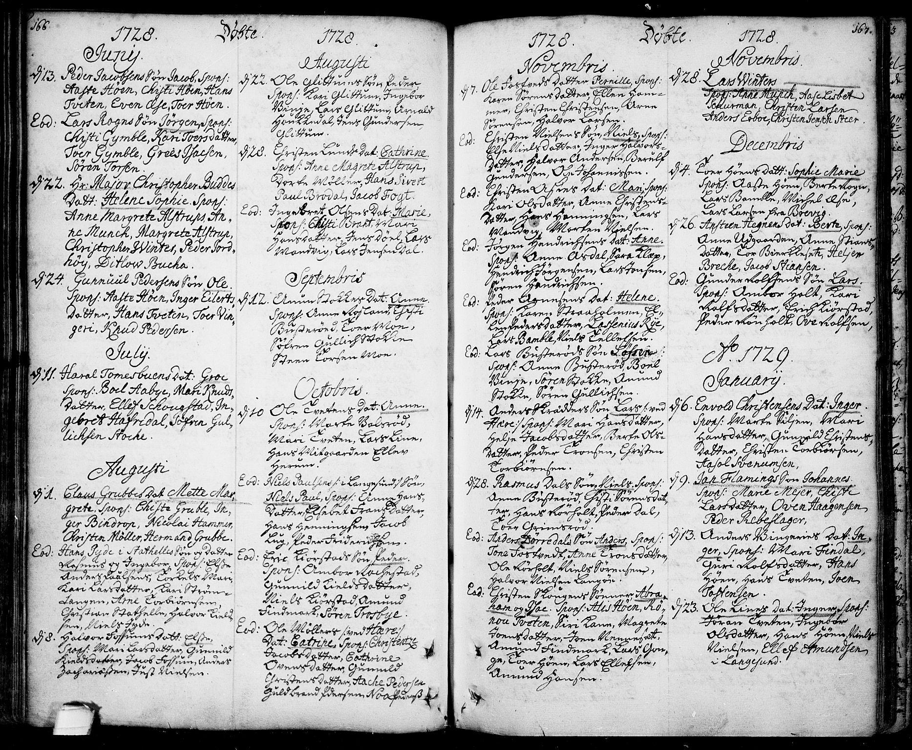 SAKO, Bamble kirkebøker, F/Fa/L0001: Ministerialbok nr. I 1, 1702-1774, s. 166-167